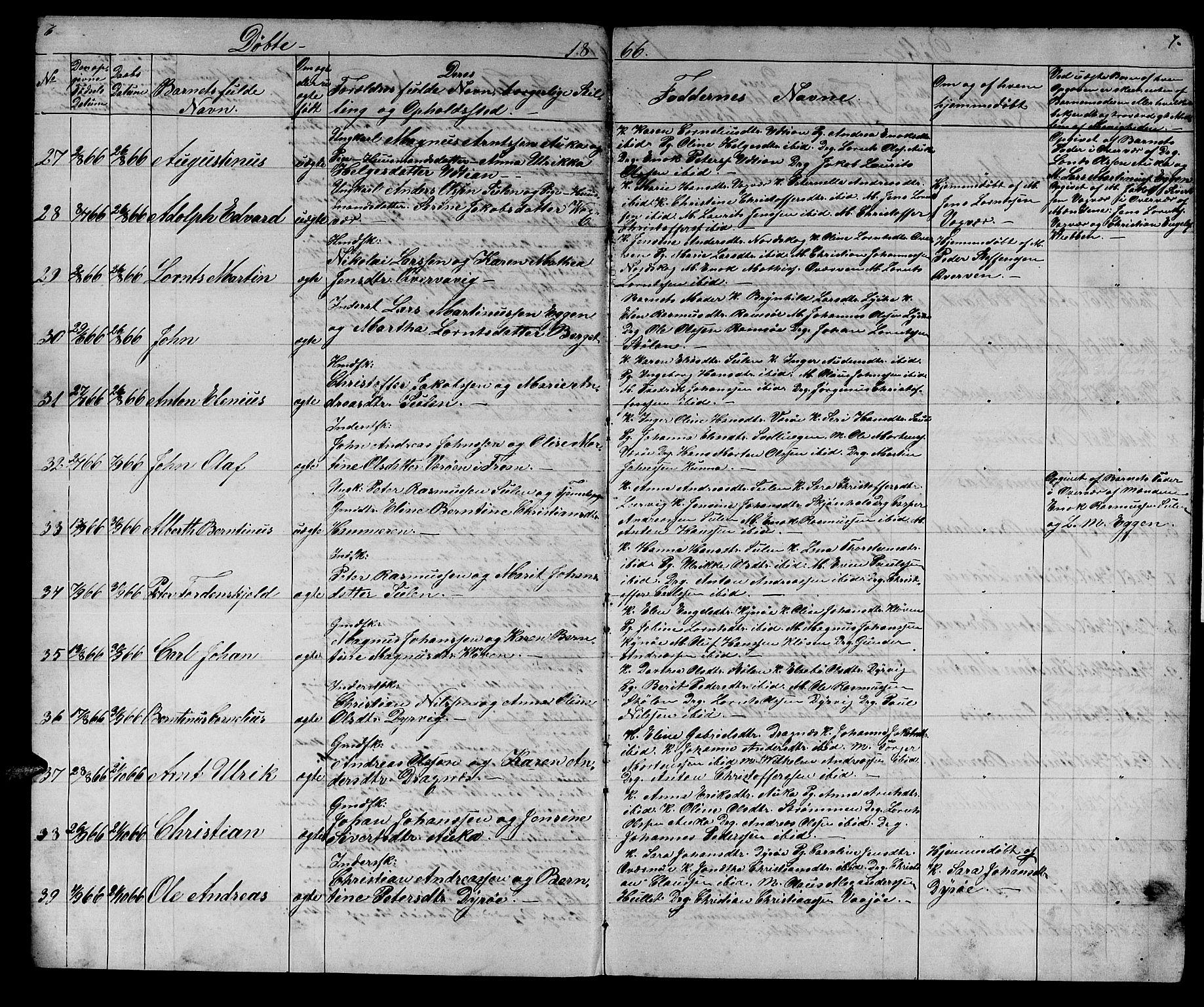 SAT, Ministerialprotokoller, klokkerbøker og fødselsregistre - Sør-Trøndelag, 640/L0583: Klokkerbok nr. 640C01, 1866-1877, s. 6-7