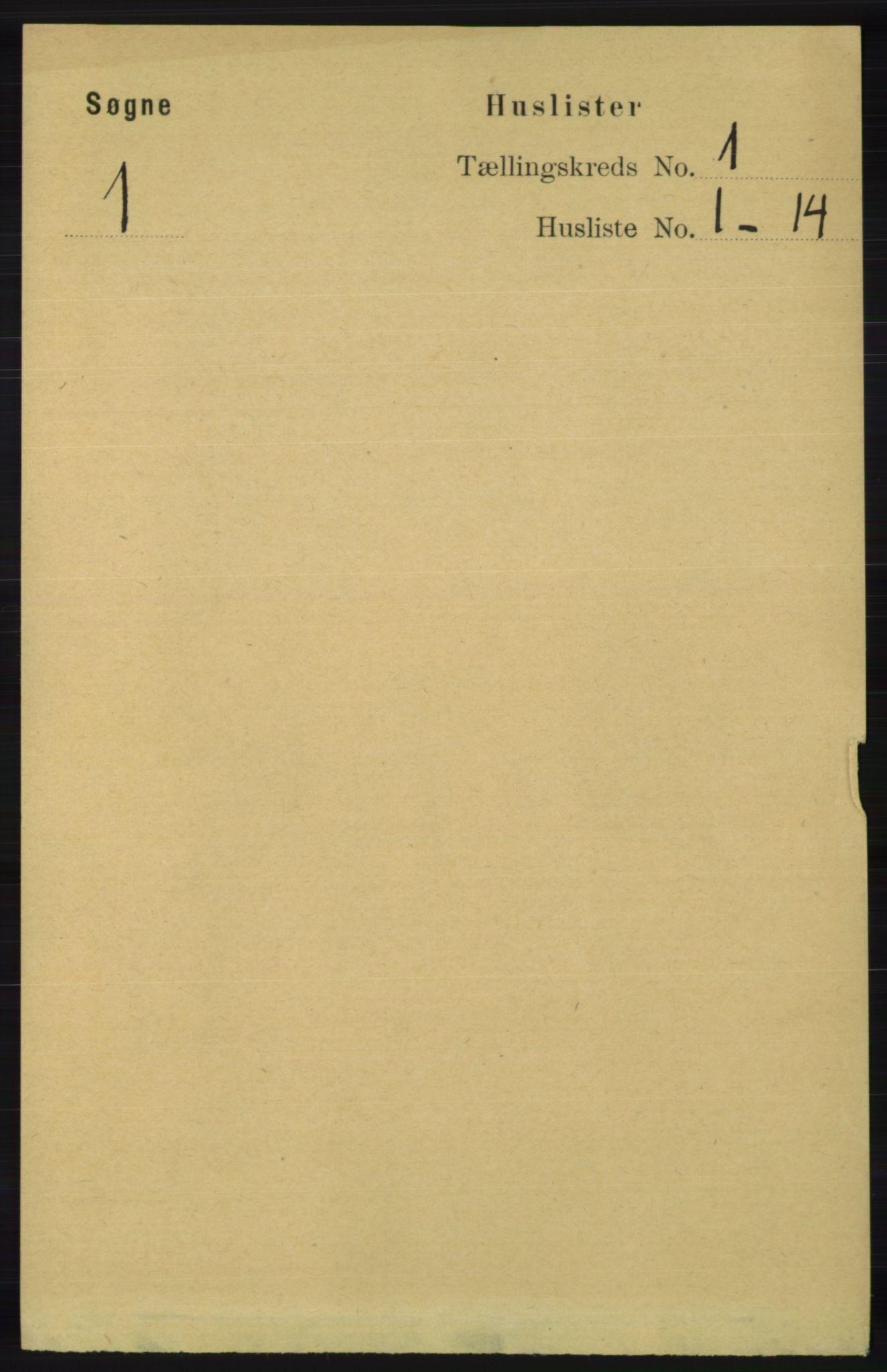 RA, Folketelling 1891 for 1018 Søgne herred, 1891, s. 47