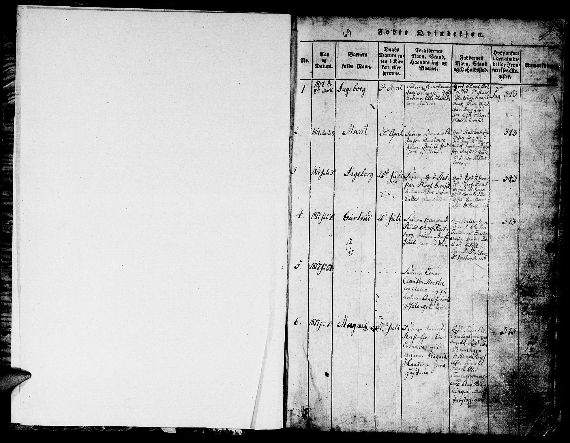 SAT, Ministerialprotokoller, klokkerbøker og fødselsregistre - Sør-Trøndelag, 685/L0976: Klokkerbok nr. 685C01, 1817-1878, s. 1