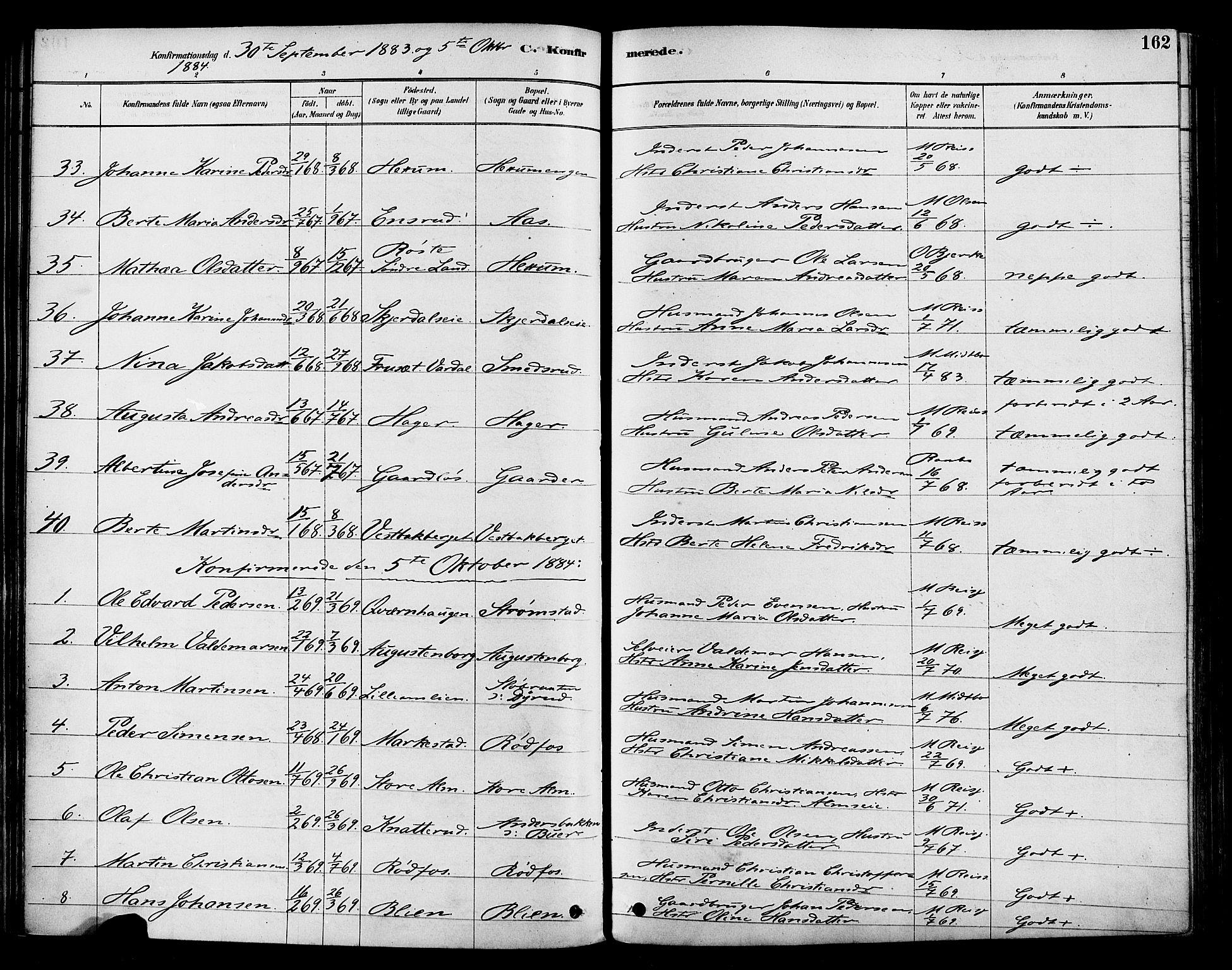 SAH, Vestre Toten prestekontor, Ministerialbok nr. 9, 1878-1894, s. 162