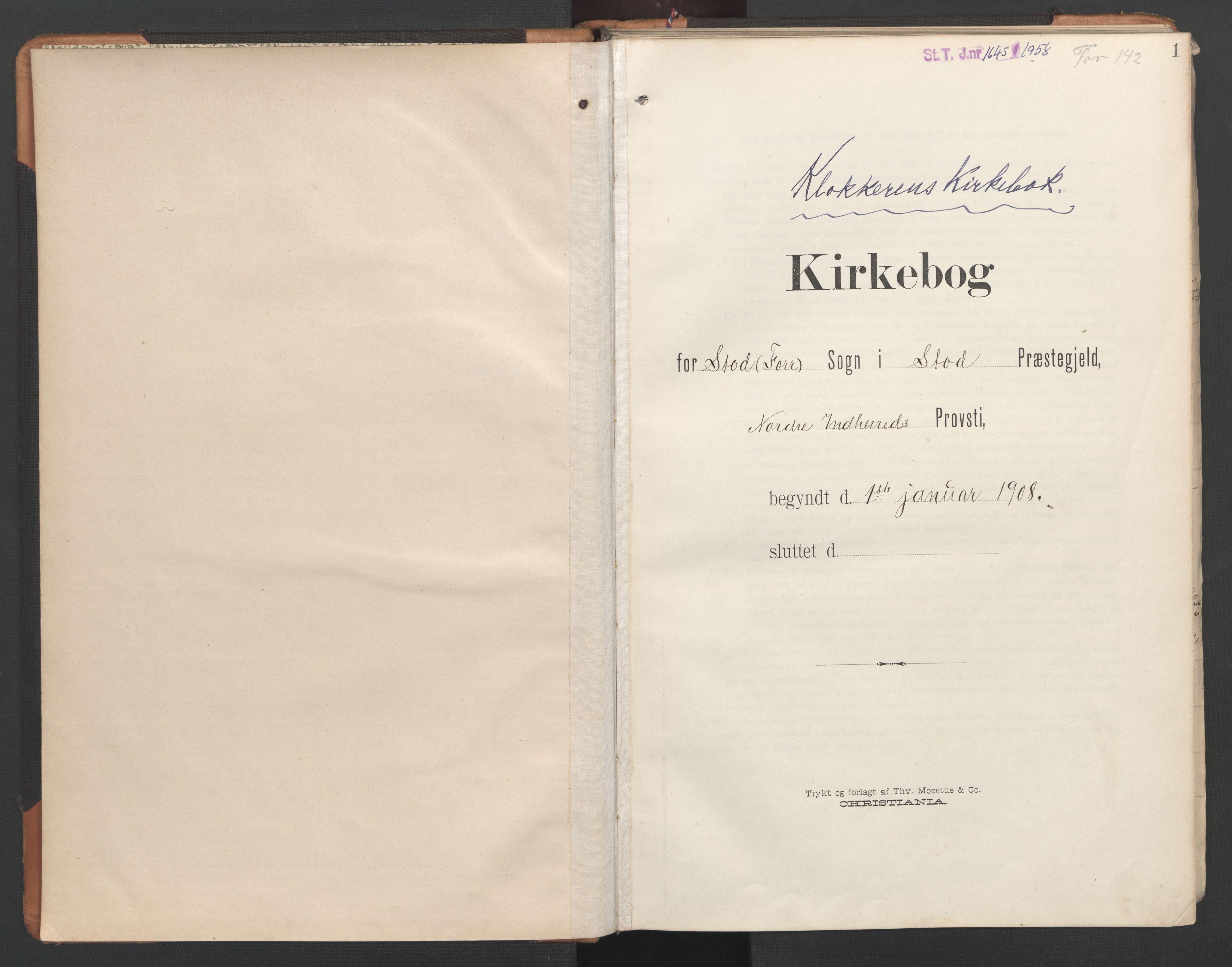 SAT, Ministerialprotokoller, klokkerbøker og fødselsregistre - Nord-Trøndelag, 746/L0455: Klokkerbok nr. 746C01, 1908-1933, s. 1