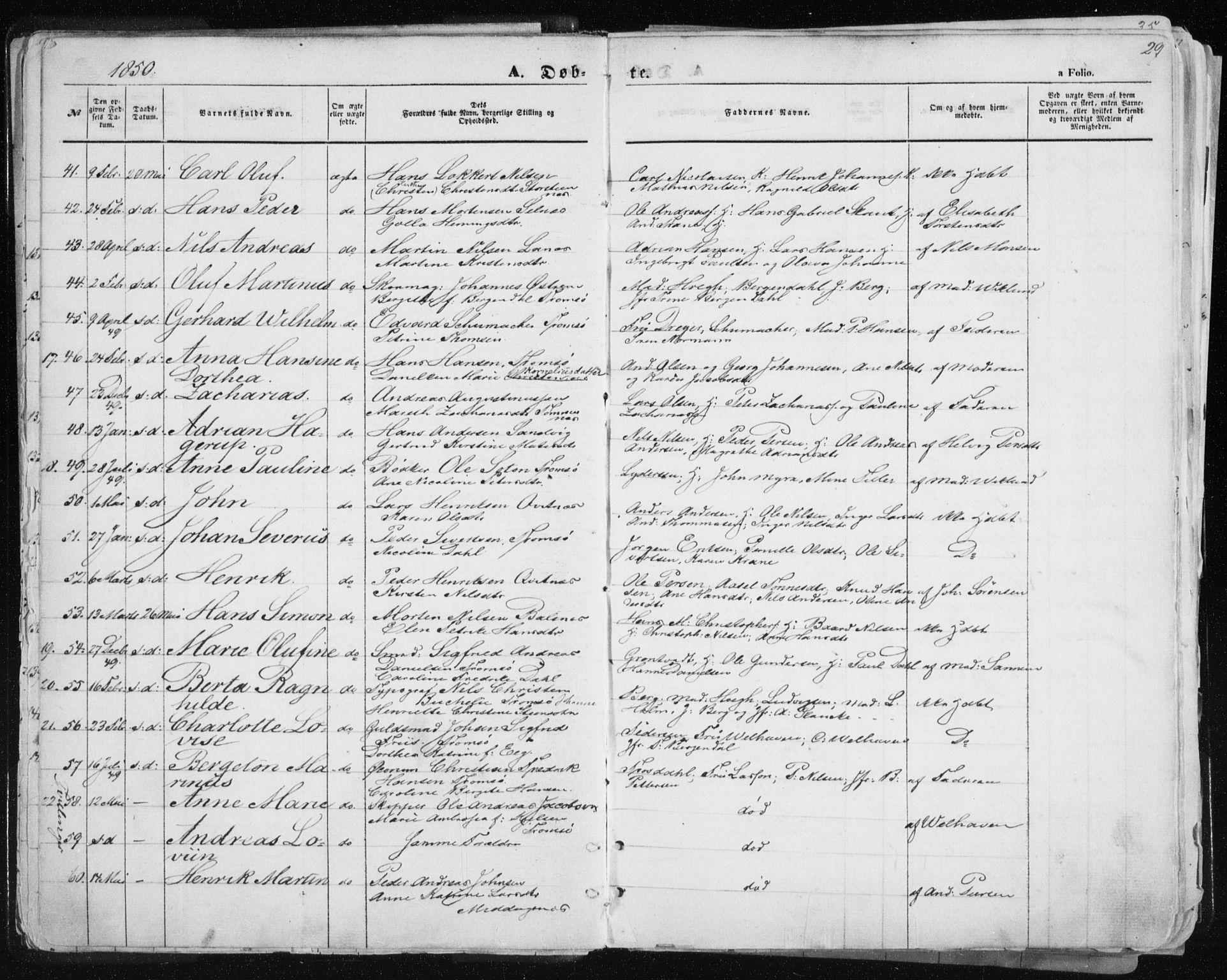 SATØ, Tromsø sokneprestkontor/stiftsprosti/domprosti, G/Ga/L0010kirke: Ministerialbok nr. 10, 1848-1855, s. 29
