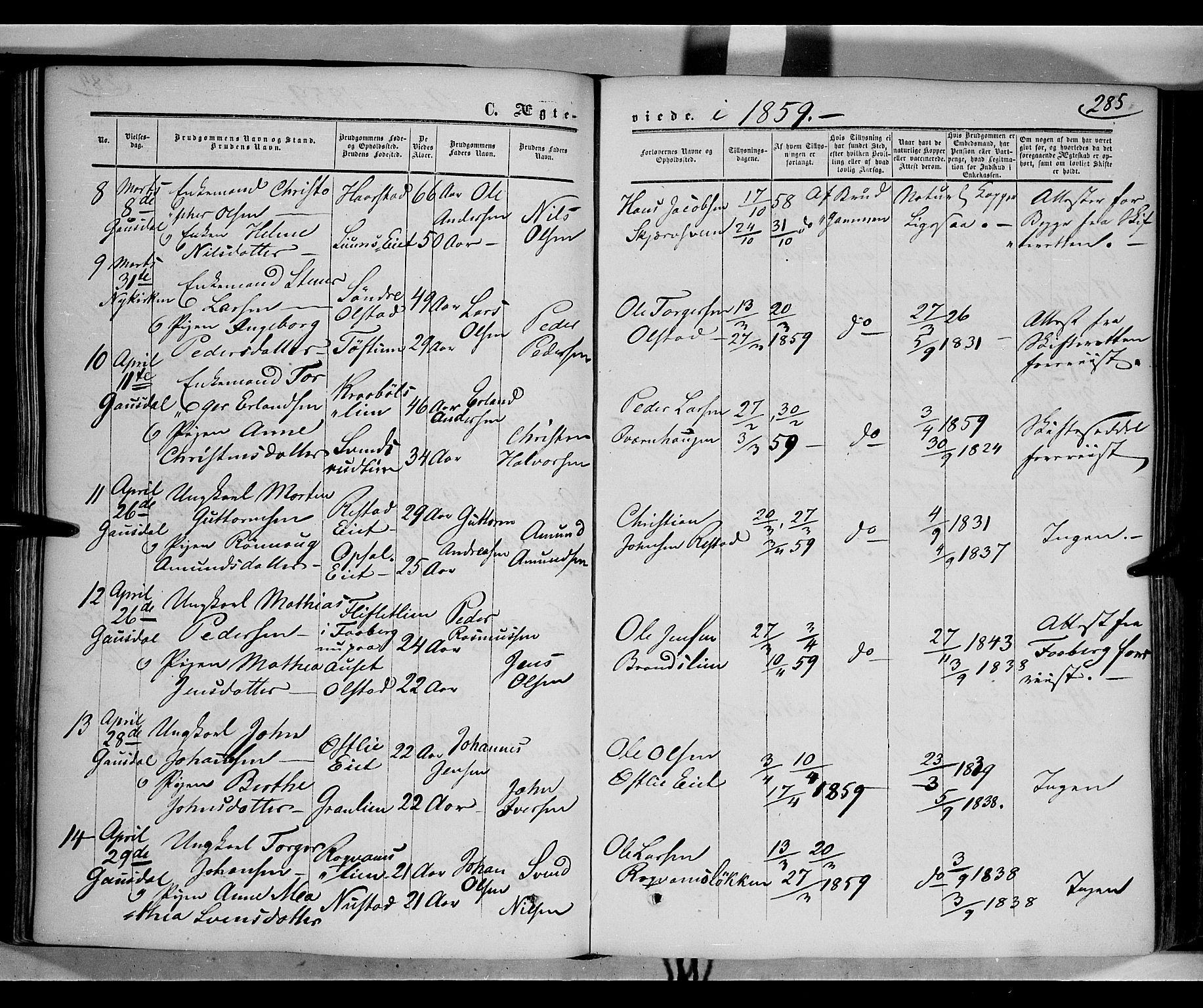 SAH, Gausdal prestekontor, Ministerialbok nr. 8, 1850-1861, s. 285