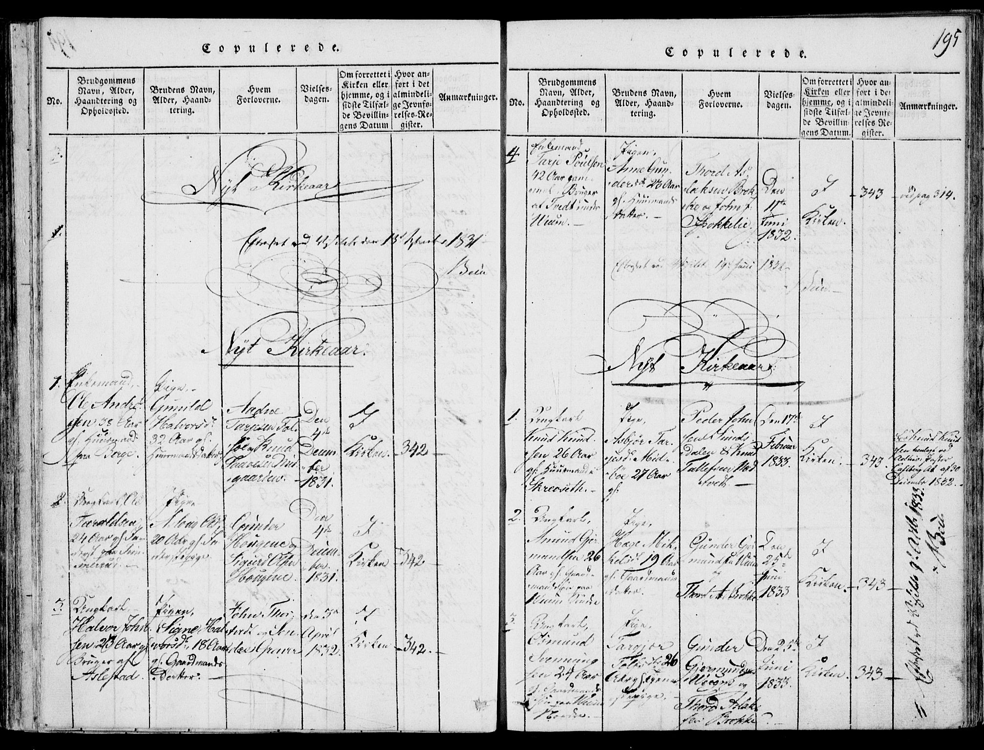 SAKO, Fyresdal kirkebøker, F/Fb/L0001: Ministerialbok nr. II 1, 1815-1854, s. 195