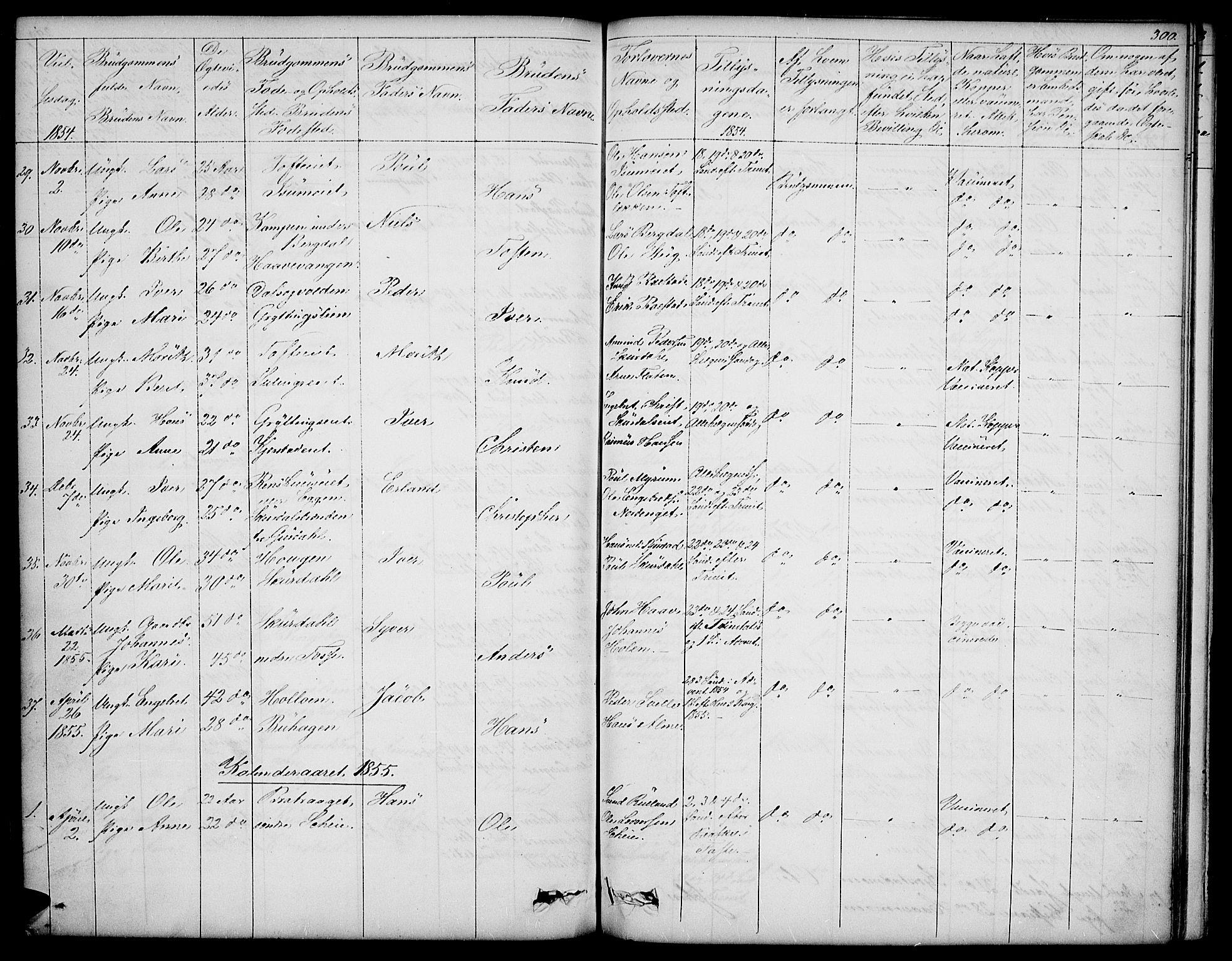 SAH, Sør-Fron prestekontor, H/Ha/Hab/L0001: Klokkerbok nr. 1, 1844-1863, s. 300