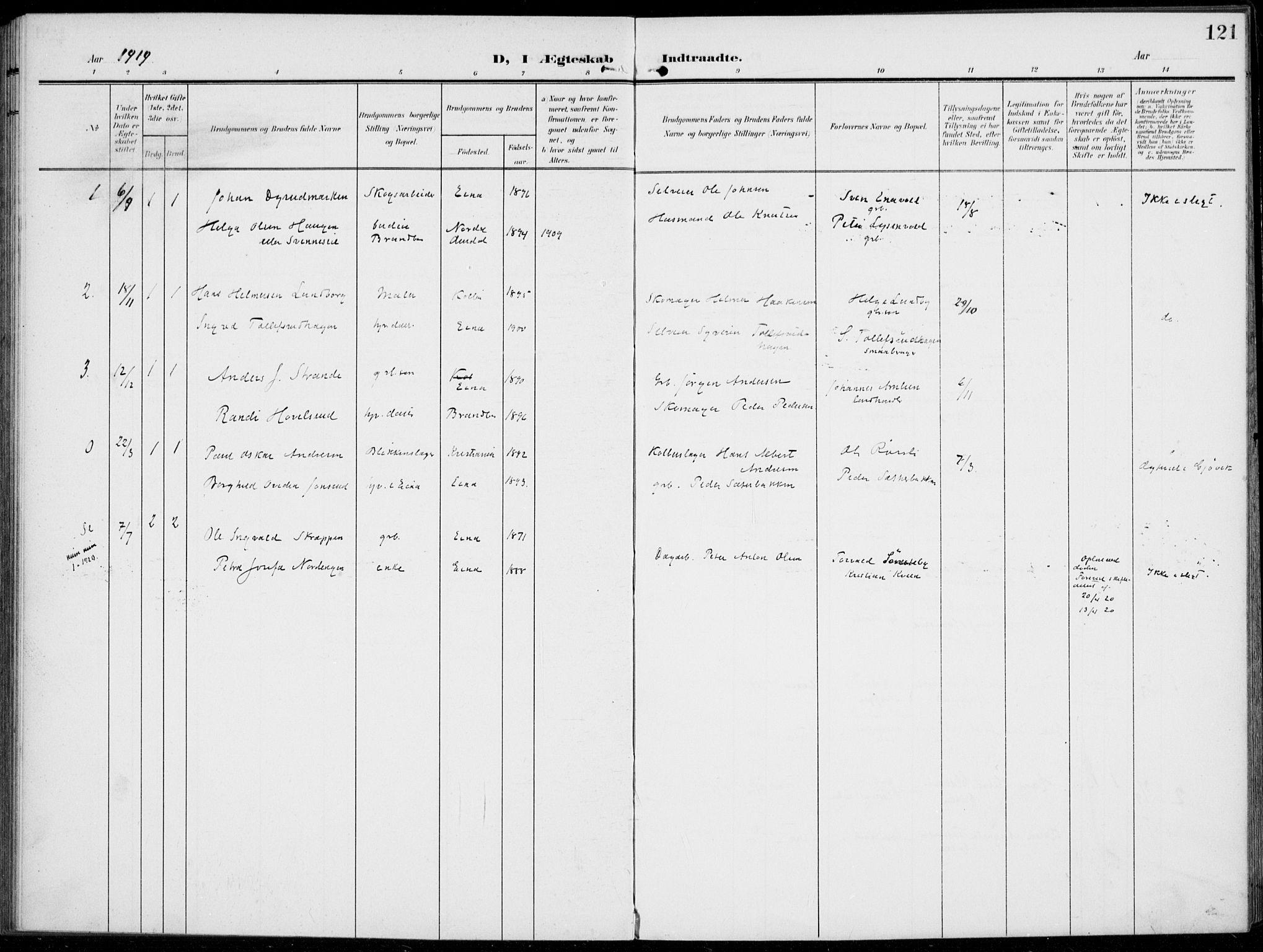 SAH, Kolbu prestekontor, Ministerialbok nr. 1, 1907-1923, s. 121