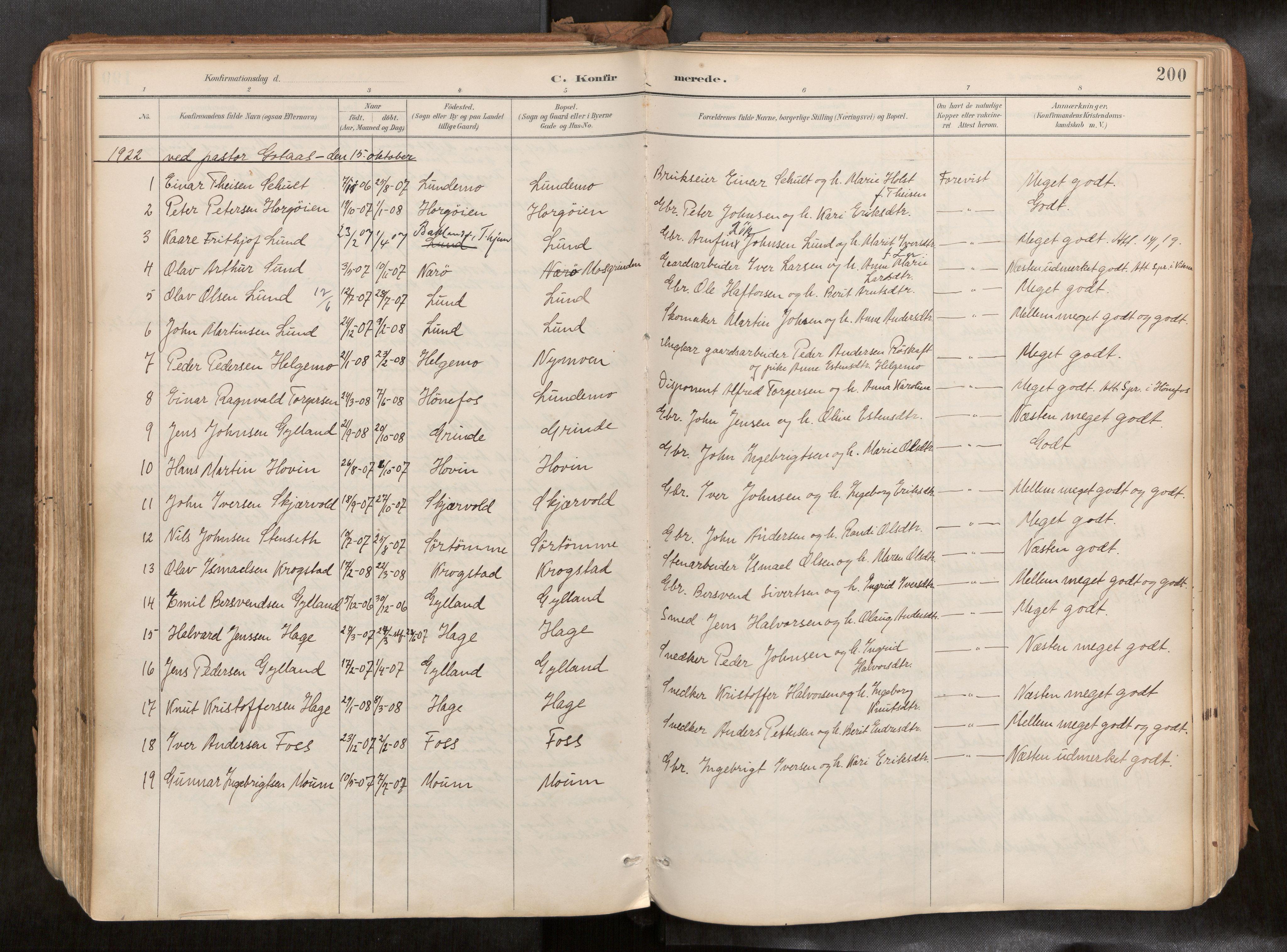 SAT, Ministerialprotokoller, klokkerbøker og fødselsregistre - Sør-Trøndelag, 692/L1105b: Ministerialbok nr. 692A06, 1891-1934, s. 200