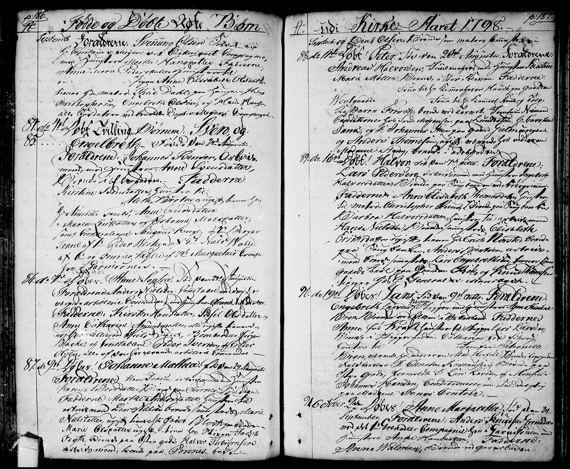 SAO, Halden prestekontor Kirkebøker, F/Fa/L0002: Ministerialbok nr. I 2, 1792-1812, s. 186-187