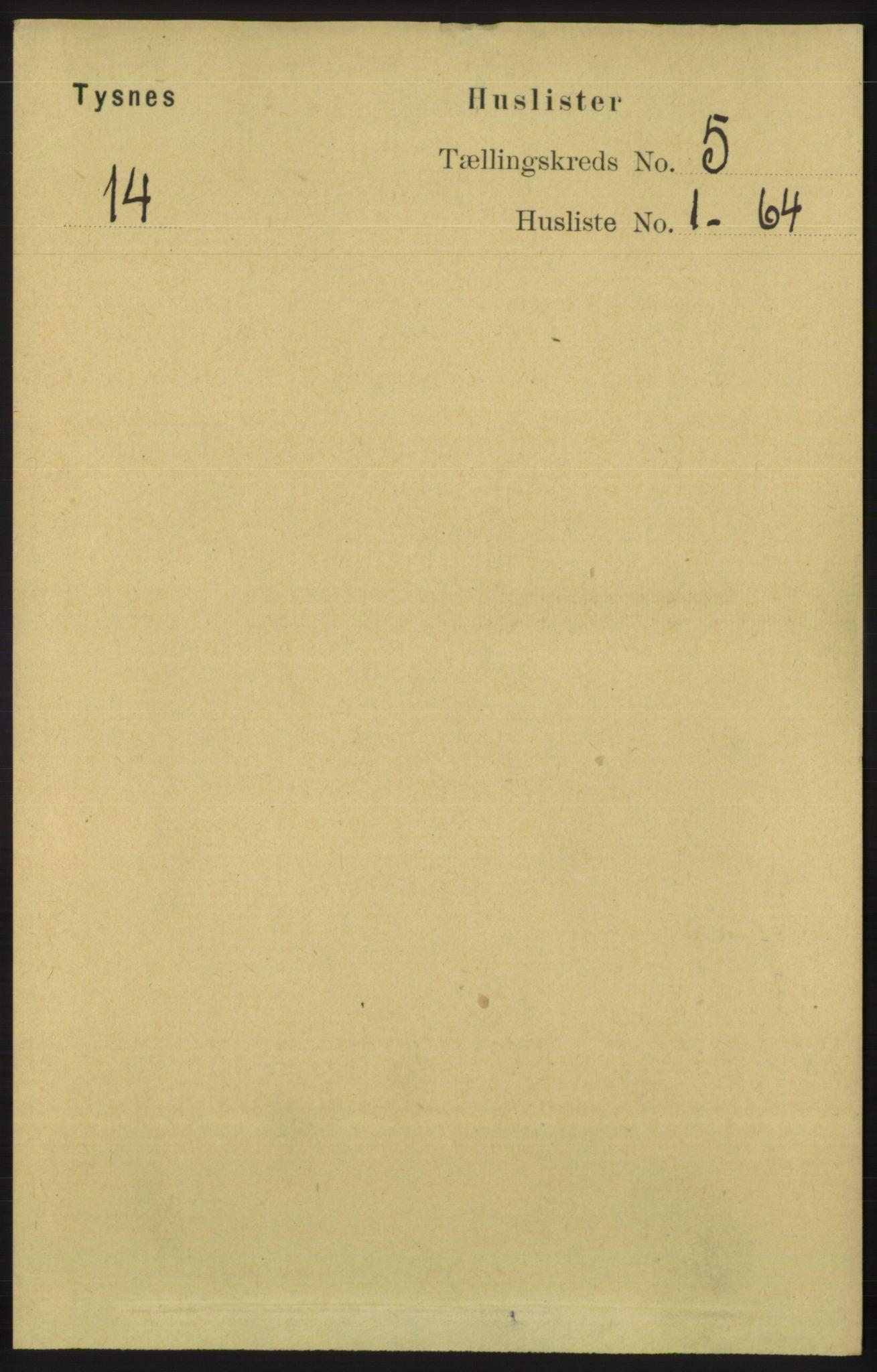 RA, Folketelling 1891 for 1223 Tysnes herred, 1891, s. 1836