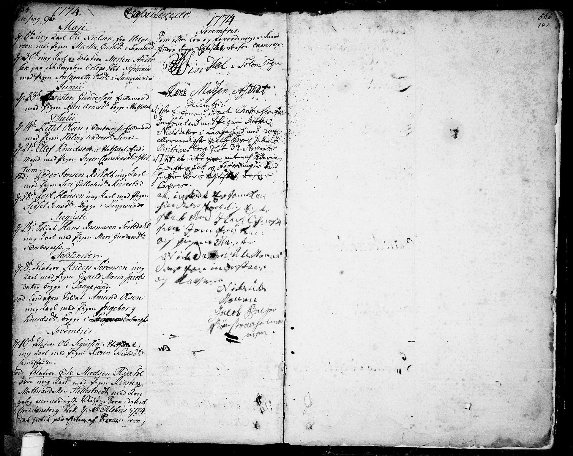SAKO, Bamble kirkebøker, F/Fa/L0001: Ministerialbok nr. I 1, 1702-1774, s. 564-565