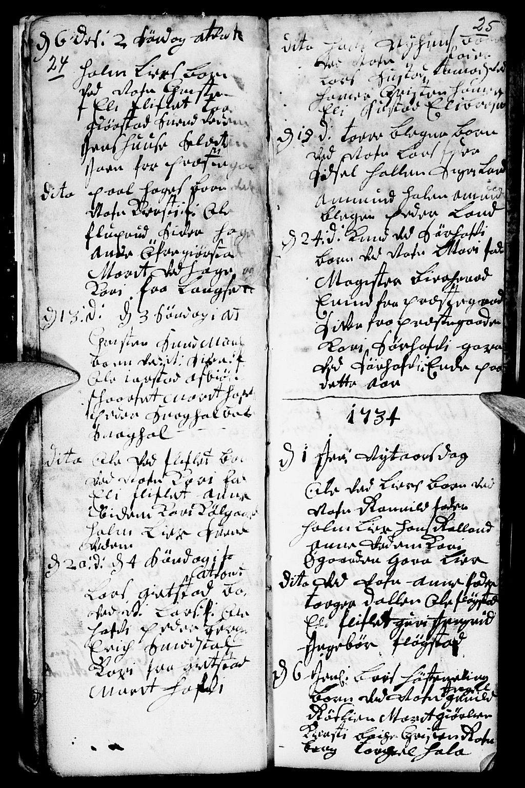 SAH, Fåberg prestekontor, Ministerialbok nr. 1, 1727-1775, s. 24-25