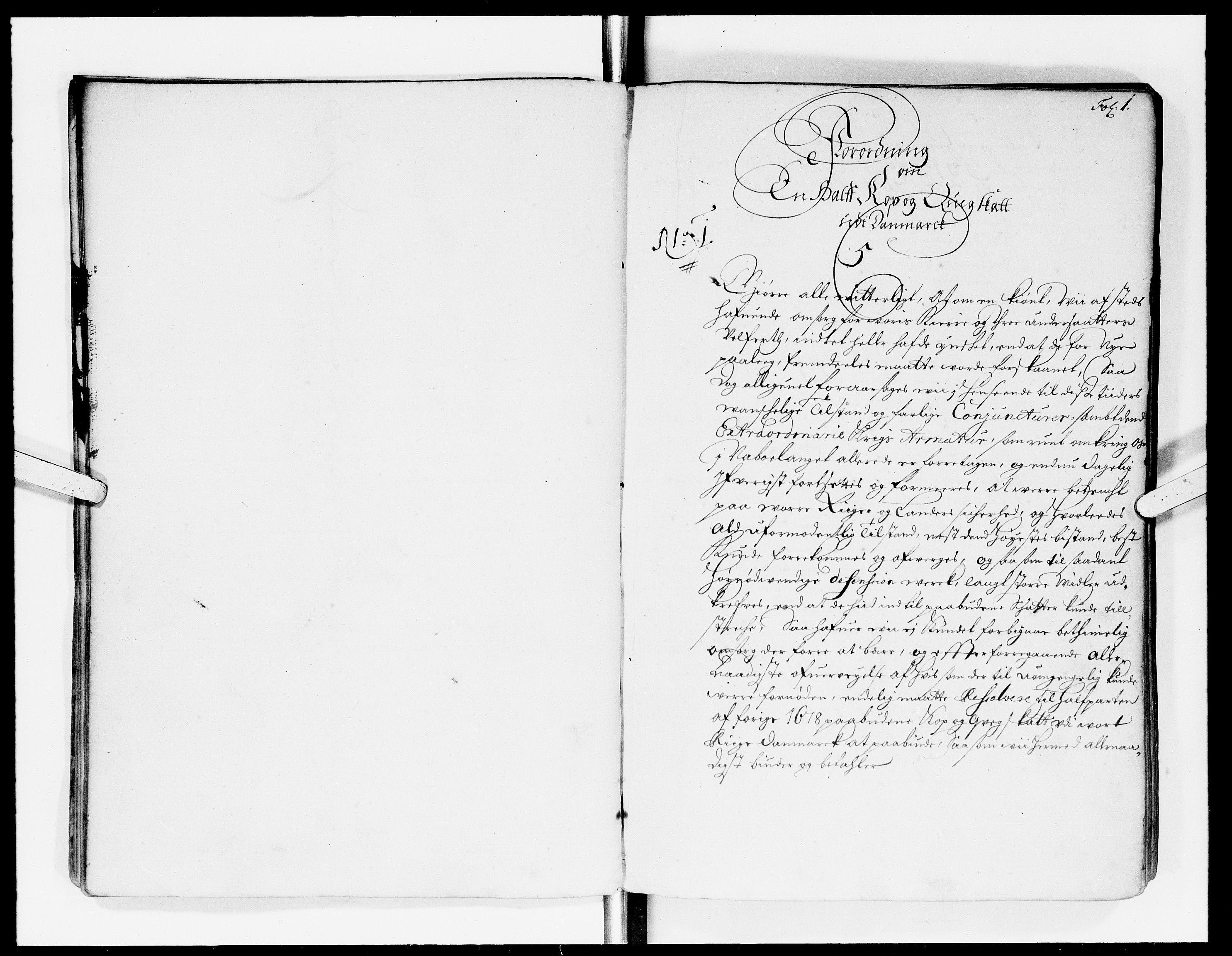 DRA, Rentekammeret Skatkammeret, Danske Sekretariat (1660-1679) / Rentekammeret Danske Afdeling, Kammerkancelliet (1679-1771), -/2212-05: Ekspeditionsprotokol, 1682-1685, s. 1