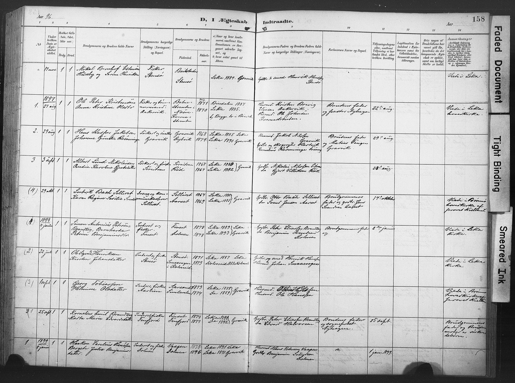 SAT, Ministerialprotokoller, klokkerbøker og fødselsregistre - Nord-Trøndelag, 789/L0706: Klokkerbok nr. 789C01, 1888-1931, s. 158