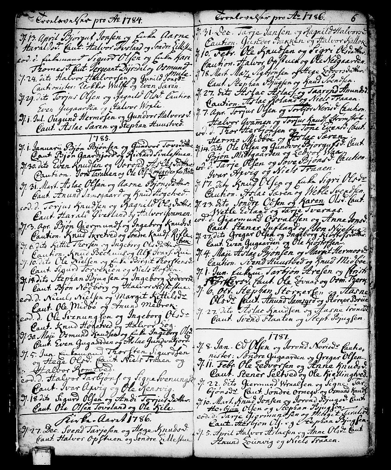 SAKO, Vinje kirkebøker, F/Fa/L0002: Ministerialbok nr. I 2, 1767-1814, s. 6