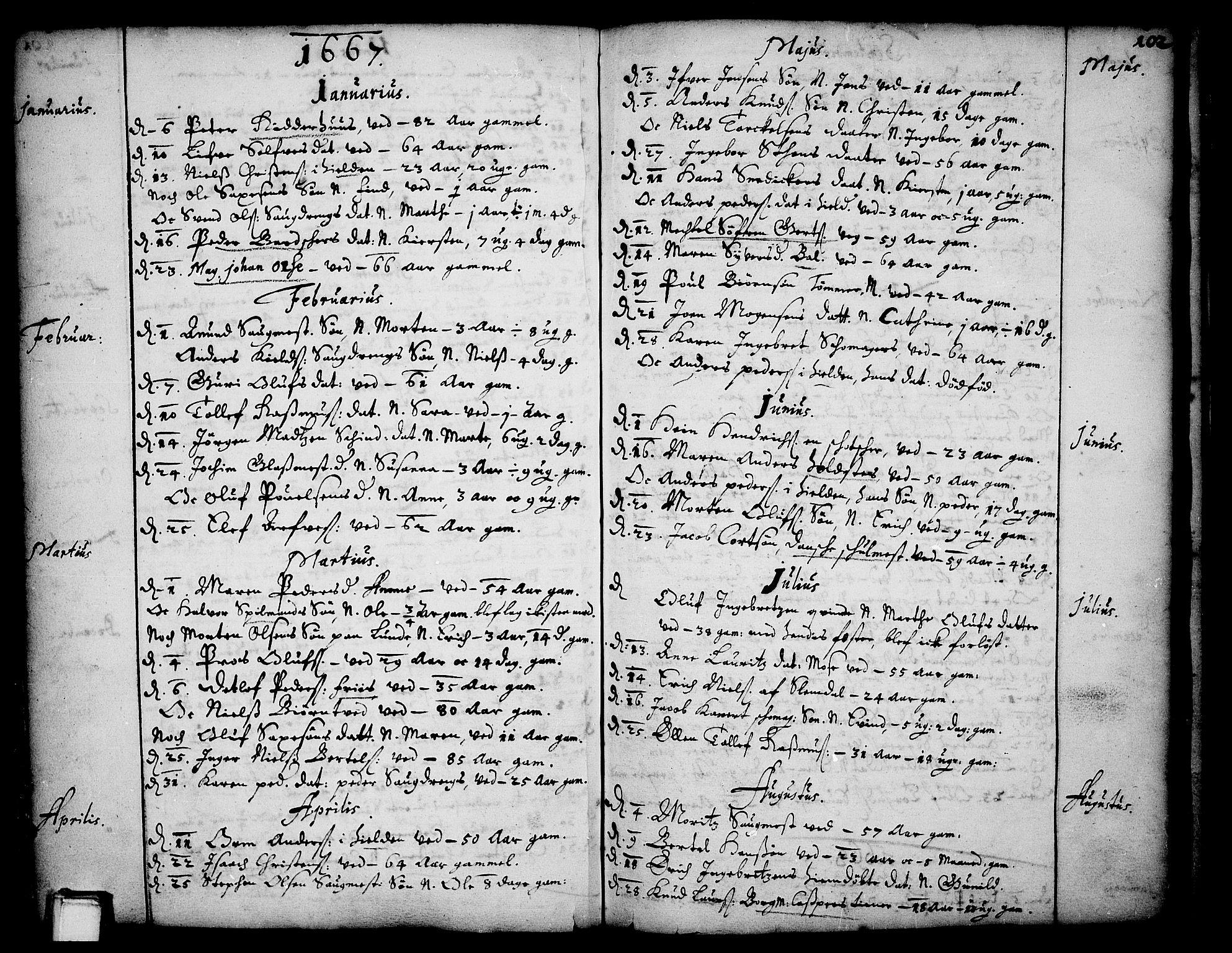 SAKO, Skien kirkebøker, F/Fa/L0001: Ministerialbok nr. 1, 1659-1679, s. 102