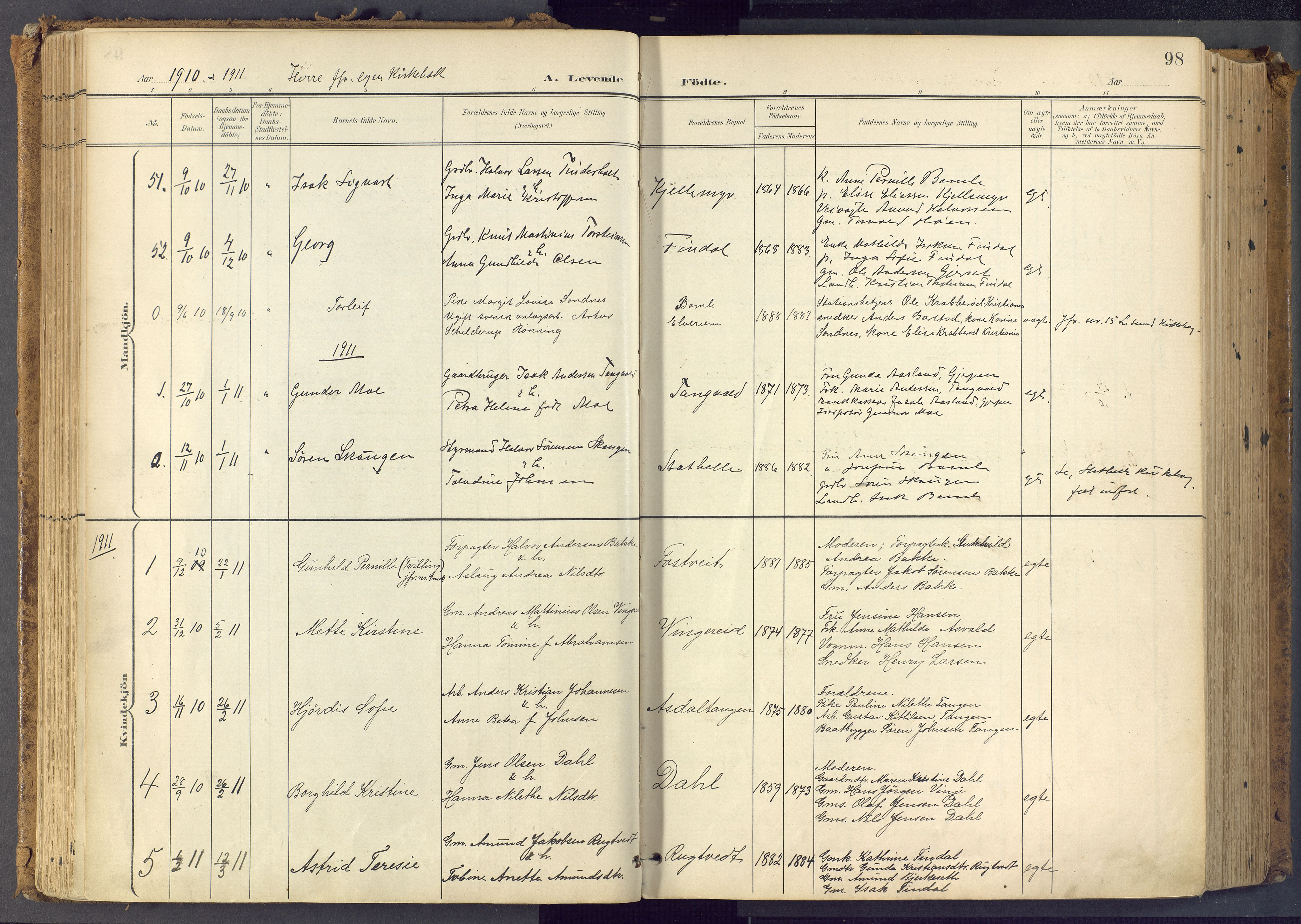 SAKO, Bamble kirkebøker, F/Fa/L0009: Ministerialbok nr. I 9, 1901-1917, s. 98
