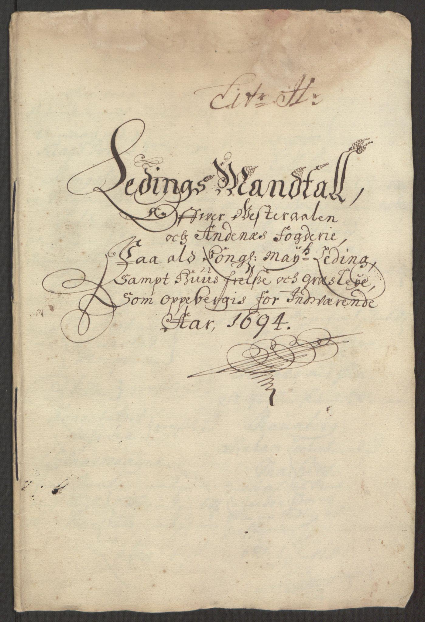 RA, Rentekammeret inntil 1814, Reviderte regnskaper, Fogderegnskap, R67/L4677: Fogderegnskap Vesterålen, Andenes og Lofoten, 1694-1695, s. 109
