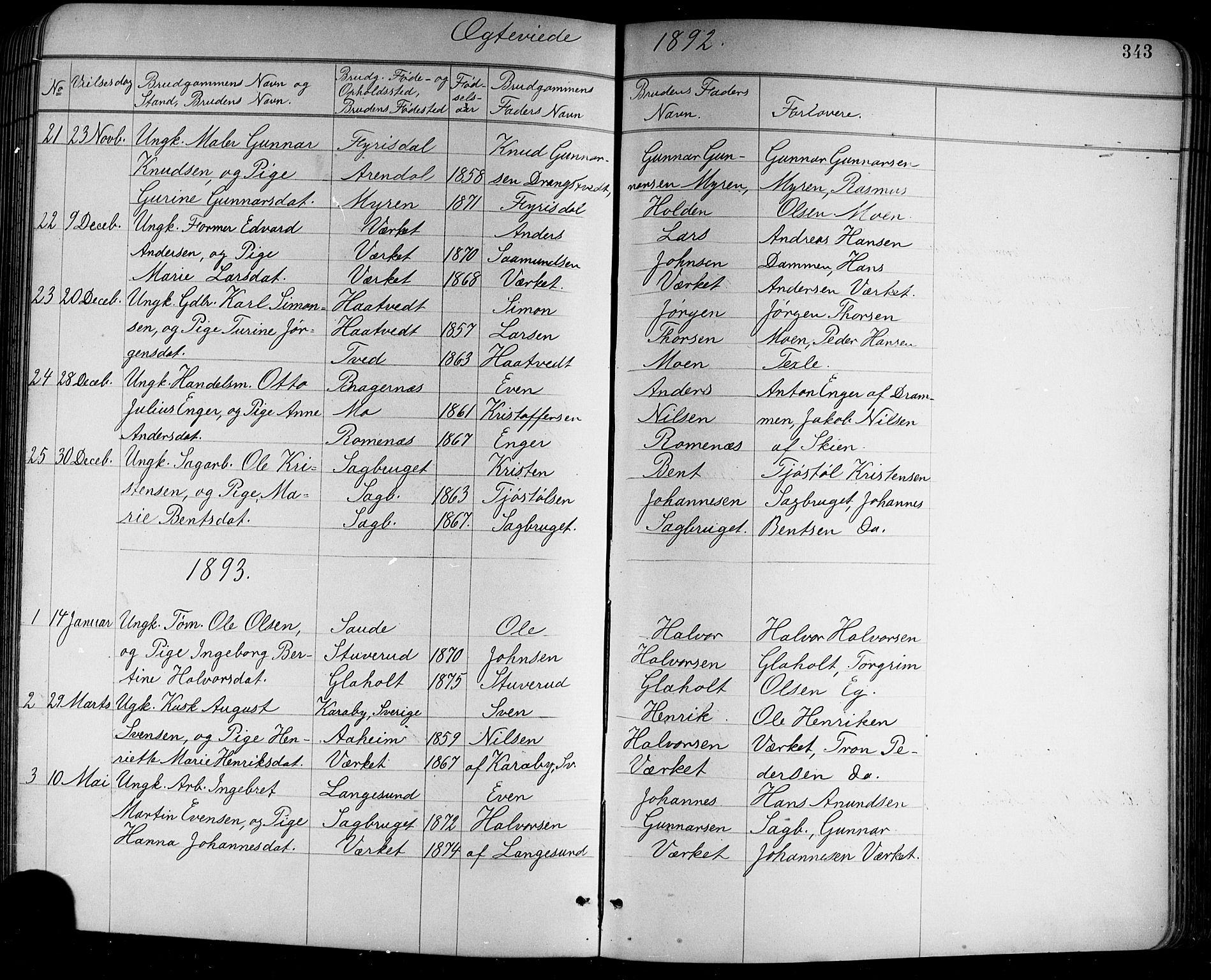 SAKO, Holla kirkebøker, G/Ga/L0005: Klokkerbok nr. I 5, 1891-1917, s. 343