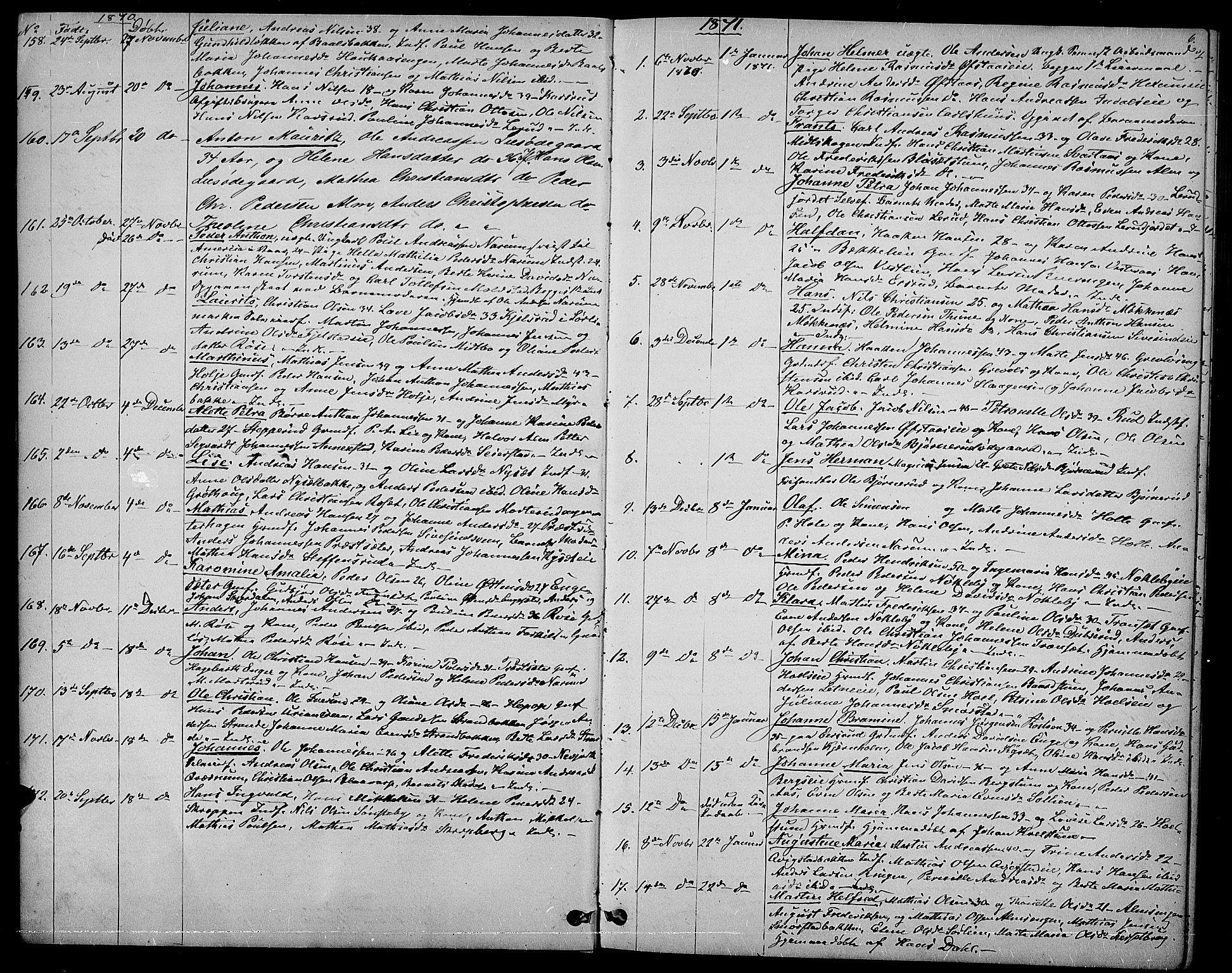 SAH, Vestre Toten prestekontor, H/Ha/Hab/L0006: Klokkerbok nr. 6, 1870-1887, s. 6
