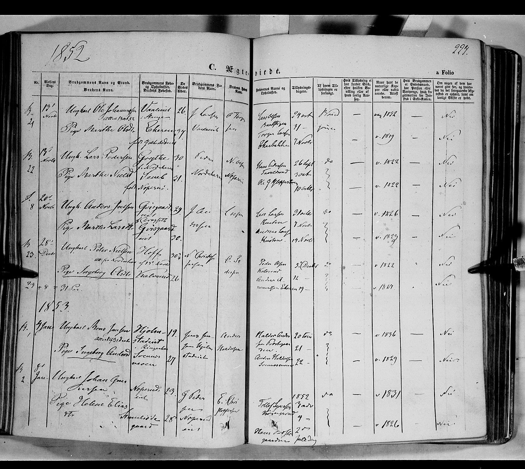 SAH, Biri prestekontor, Ministerialbok nr. 5, 1843-1854, s. 224