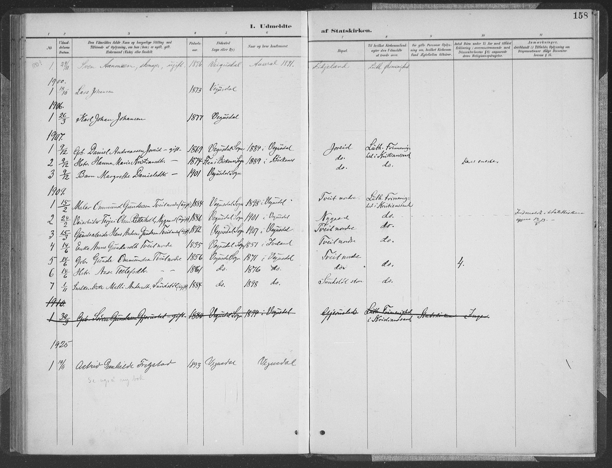 SAK, Herefoss sokneprestkontor, F/Fa/Fab/L0004: Ministerialbok nr. A 4, 1887-1909, s. 158