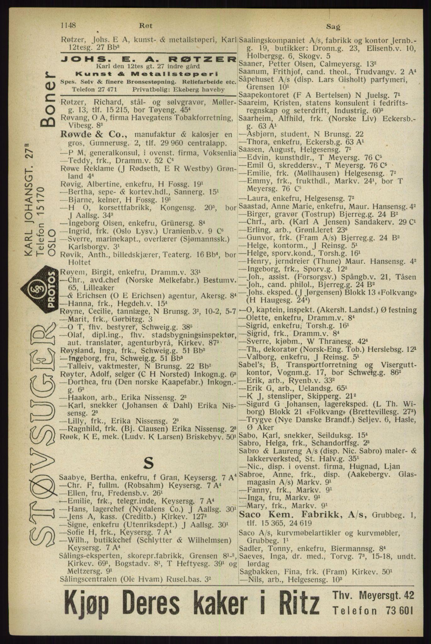 RA, Oslo adressebok (publikasjon)*, 1933, s. 1148