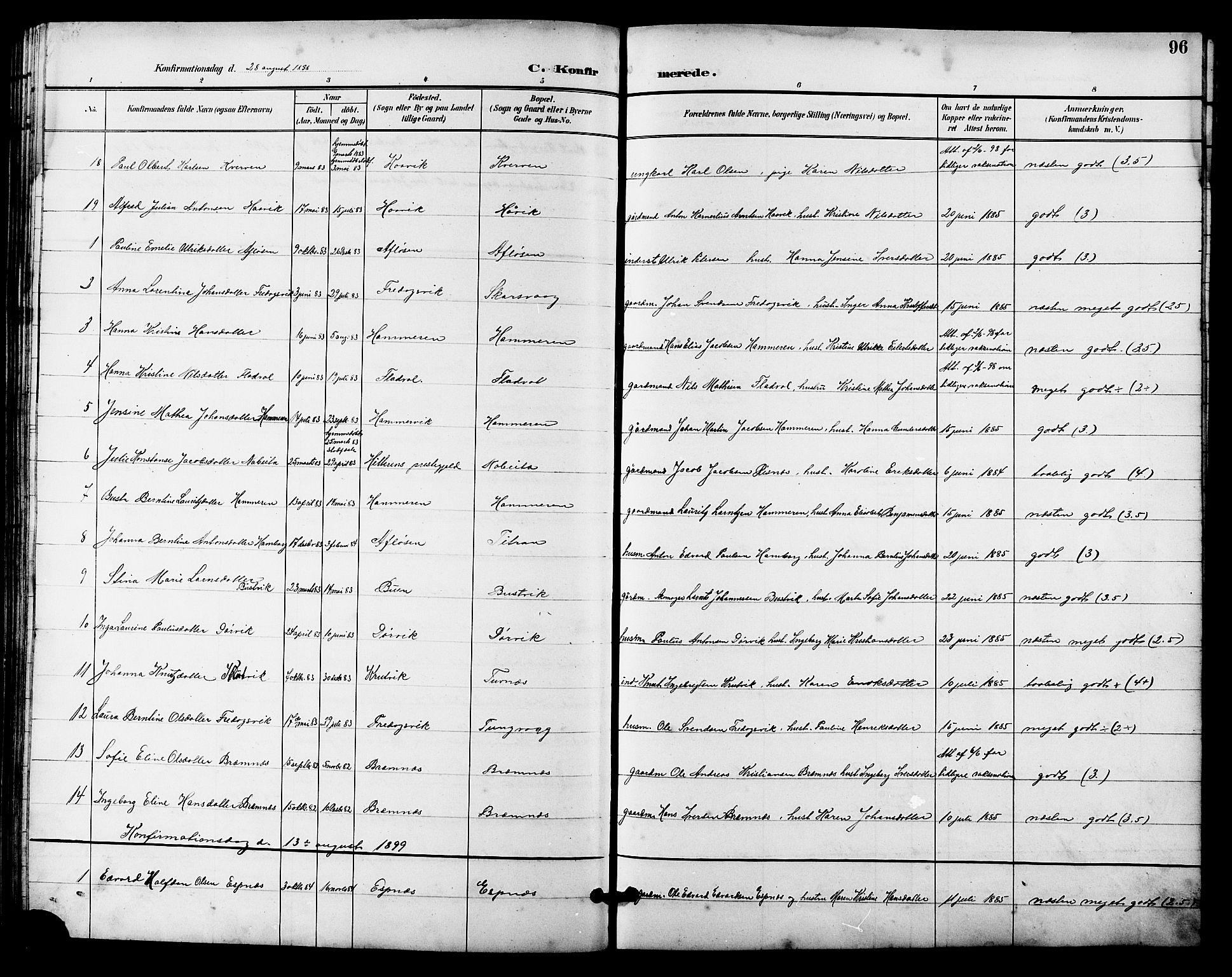 SAT, Ministerialprotokoller, klokkerbøker og fødselsregistre - Sør-Trøndelag, 641/L0598: Klokkerbok nr. 641C02, 1893-1910, s. 96