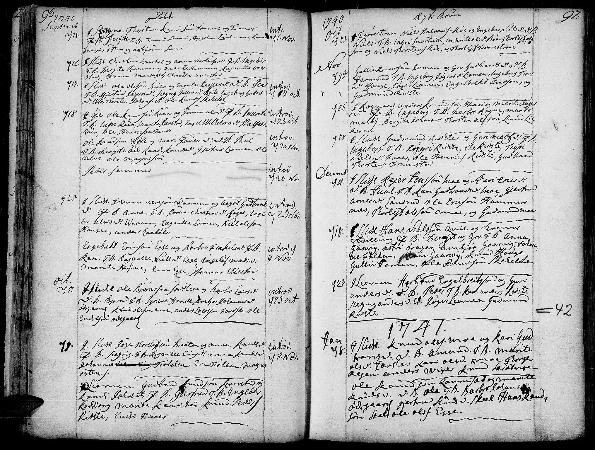 SAH, Slidre prestekontor, Ministerialbok nr. 1, 1724-1814, s. 96-97