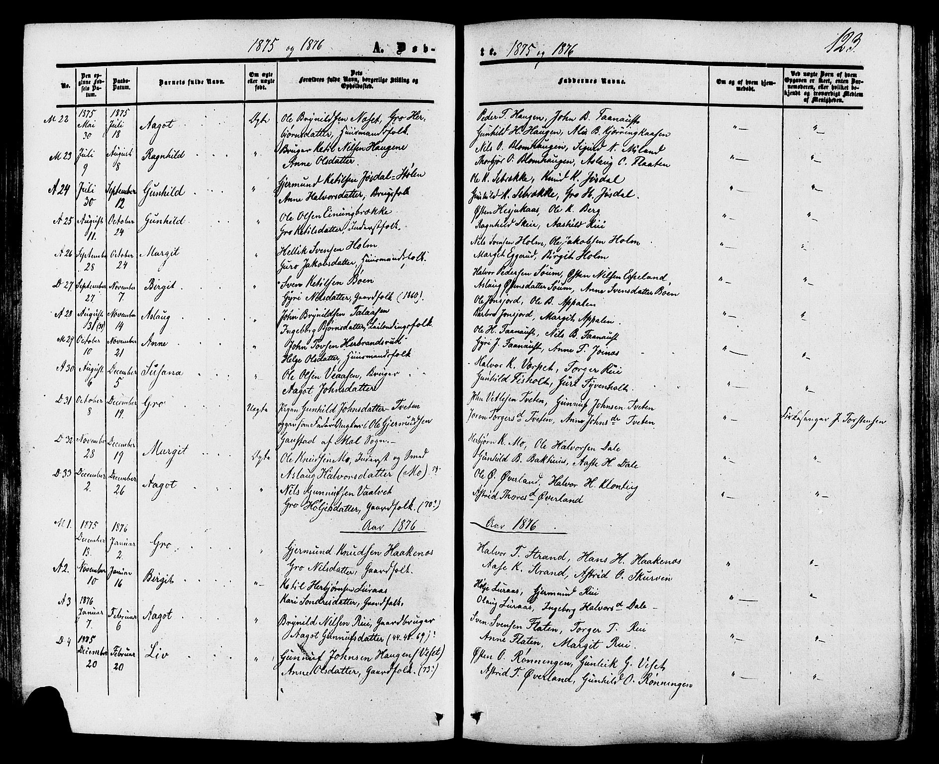 SAKO, Tinn kirkebøker, F/Fa/L0006: Ministerialbok nr. I 6, 1857-1878, s. 123