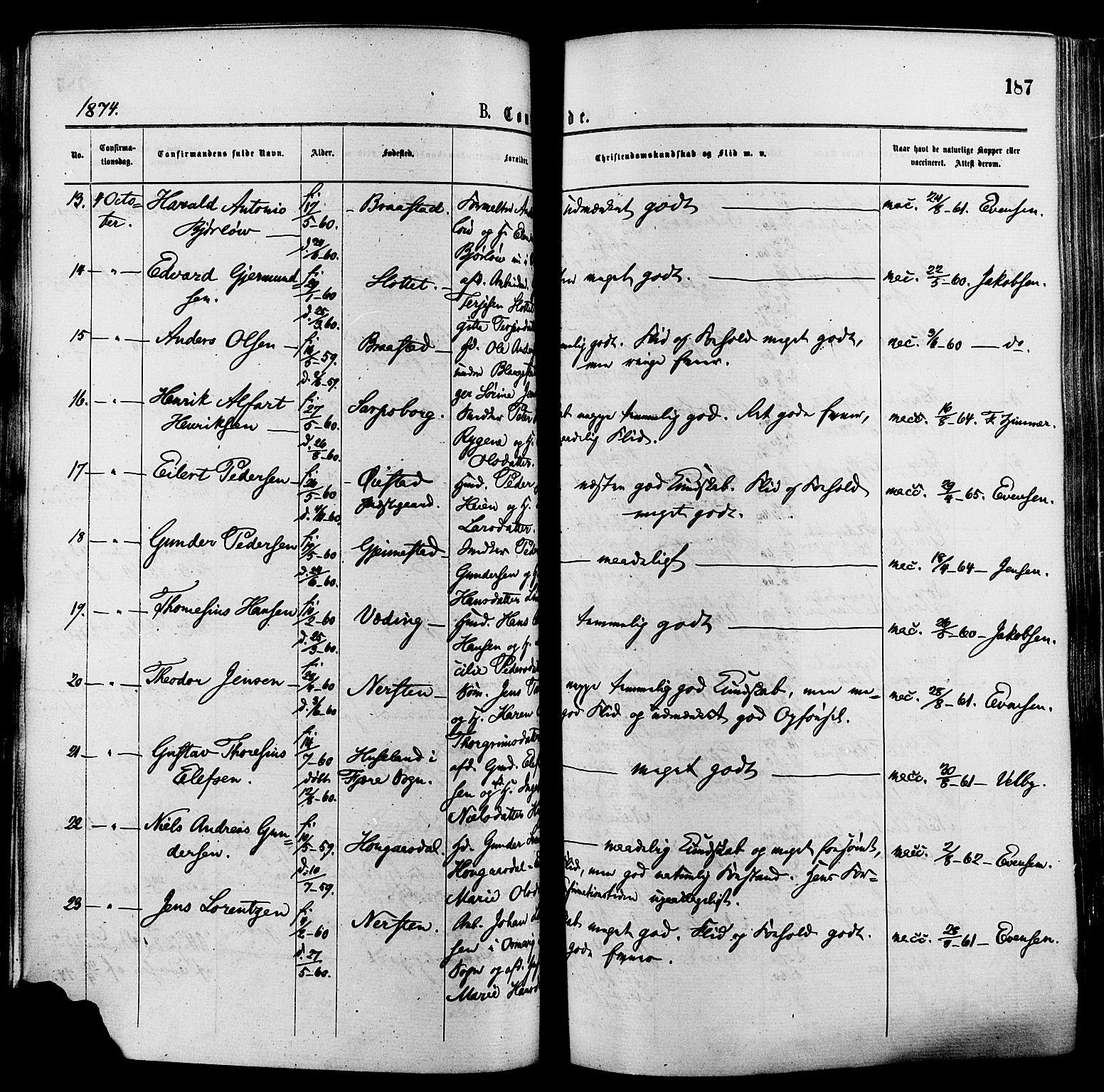 SAK, Øyestad sokneprestkontor, F/Fa/L0016: Ministerialbok nr. A 16, 1874-1886, s. 187