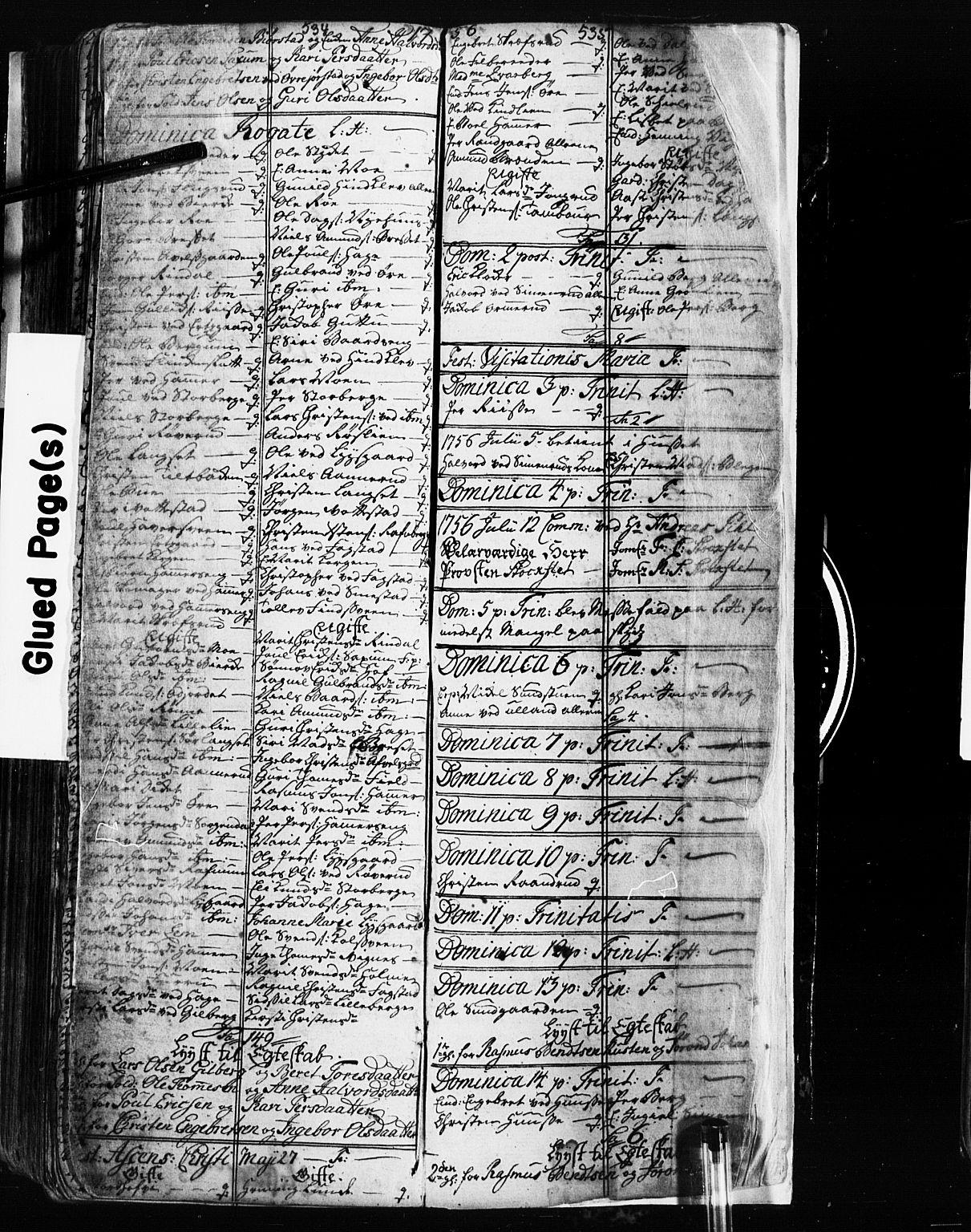 SAH, Fåberg prestekontor, Klokkerbok nr. 2, 1741-1756, s. 534-535