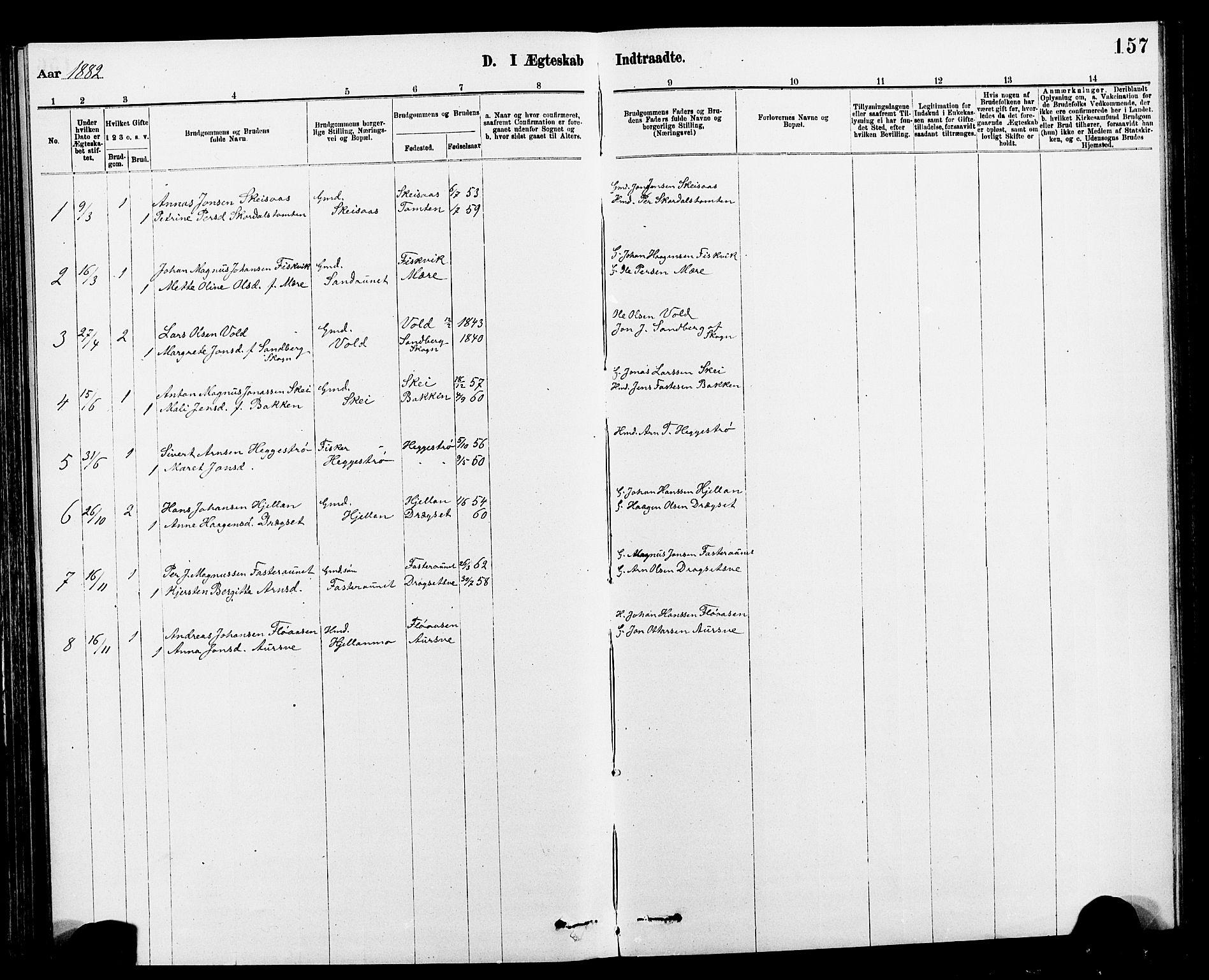 SAT, Ministerialprotokoller, klokkerbøker og fødselsregistre - Nord-Trøndelag, 712/L0103: Klokkerbok nr. 712C01, 1878-1917, s. 157