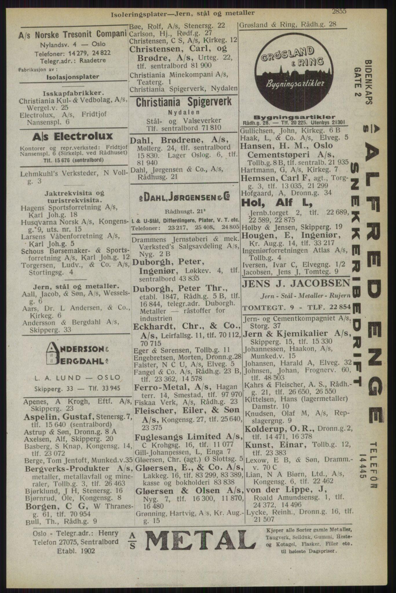 RA, Oslo adressebok (publikasjon)*, 1944, s. 2855