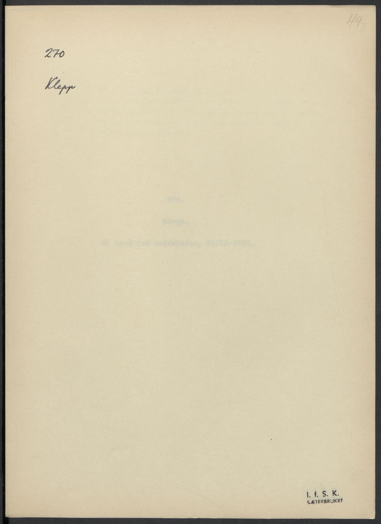 RA, Instituttet for sammenlignende kulturforskning, F/Fc/L0009: Eske B9:, 1932-1935, s. 49