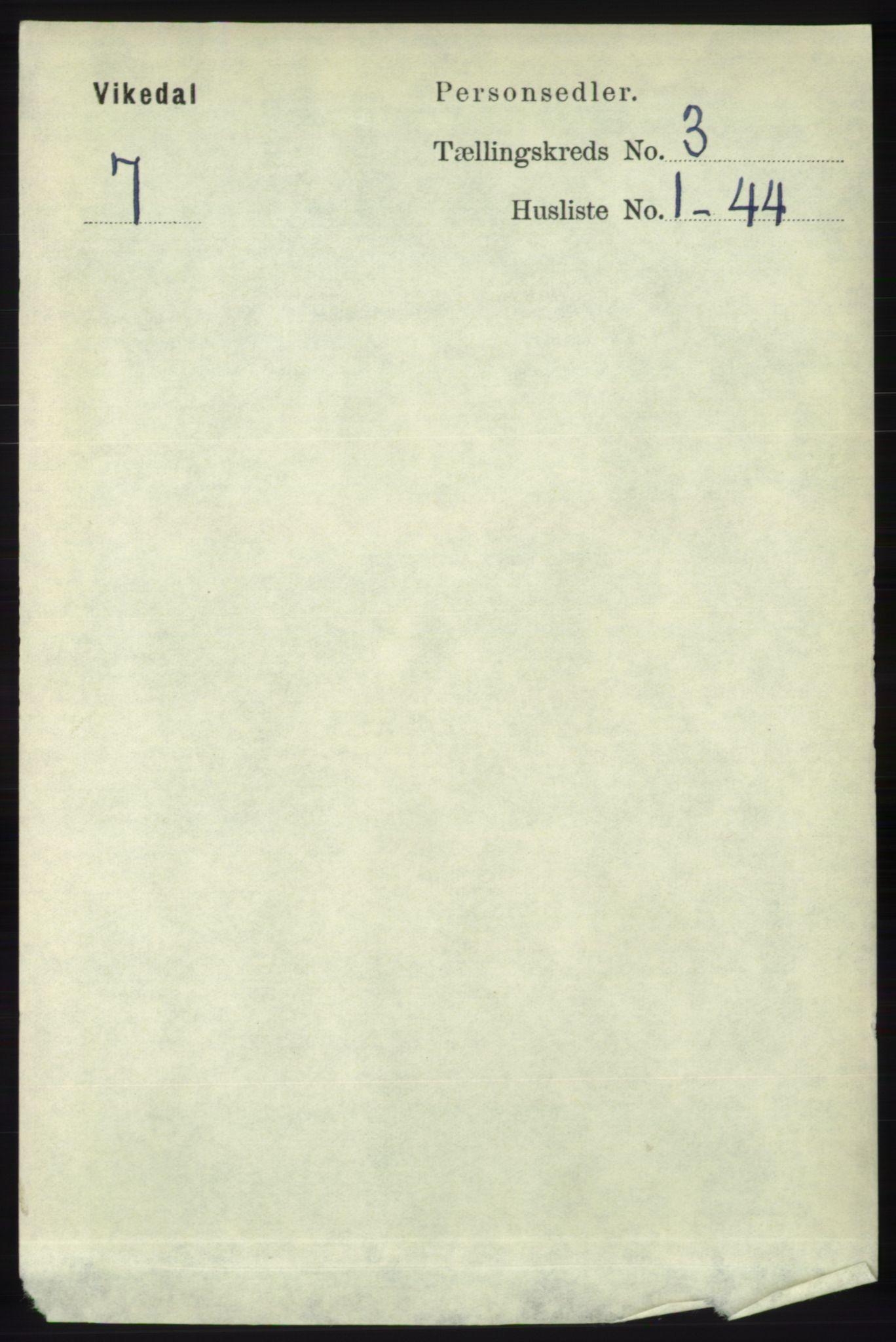 RA, Folketelling 1891 for 1157 Vikedal herred, 1891, s. 722