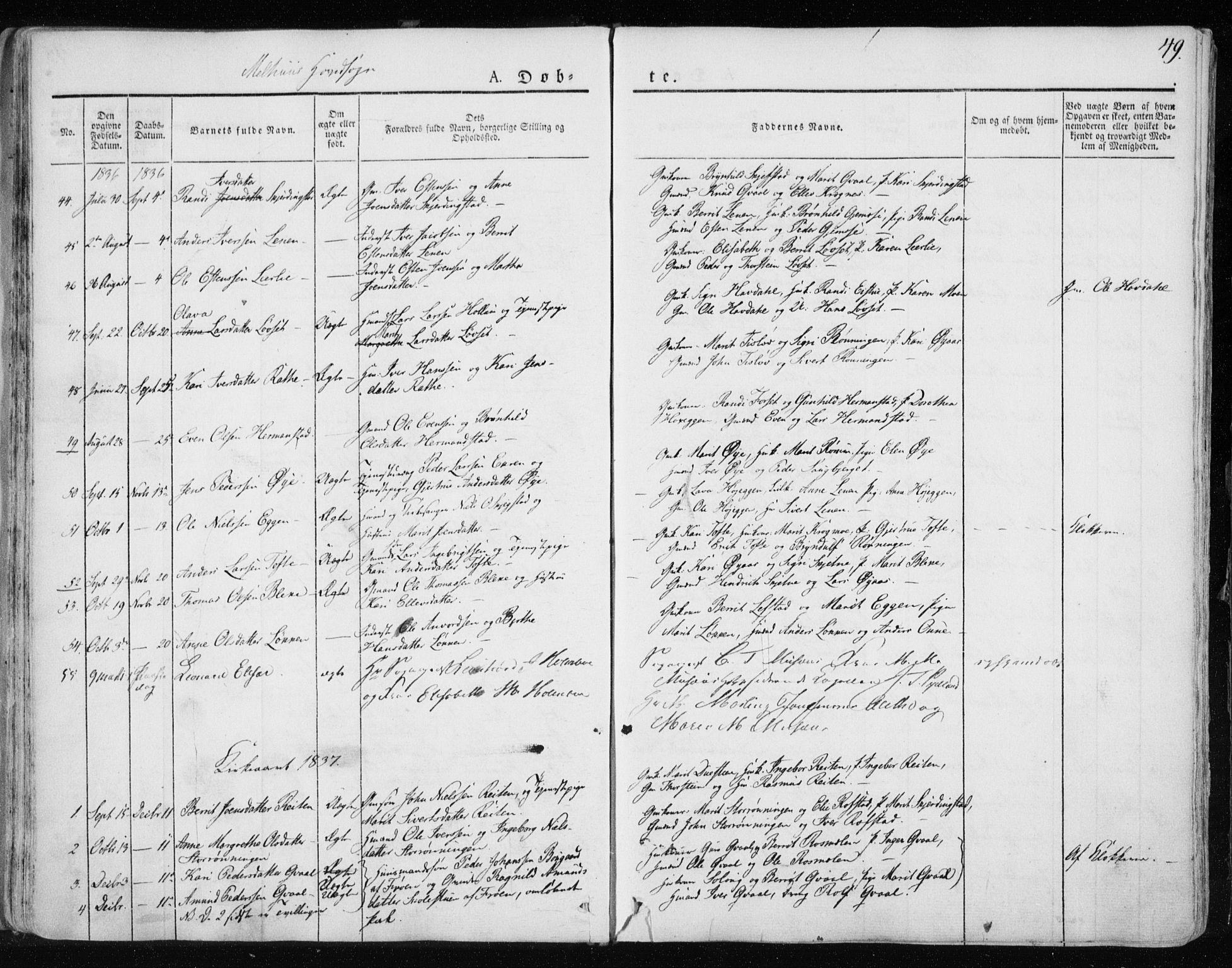 SAT, Ministerialprotokoller, klokkerbøker og fødselsregistre - Sør-Trøndelag, 691/L1069: Ministerialbok nr. 691A04, 1826-1841, s. 49