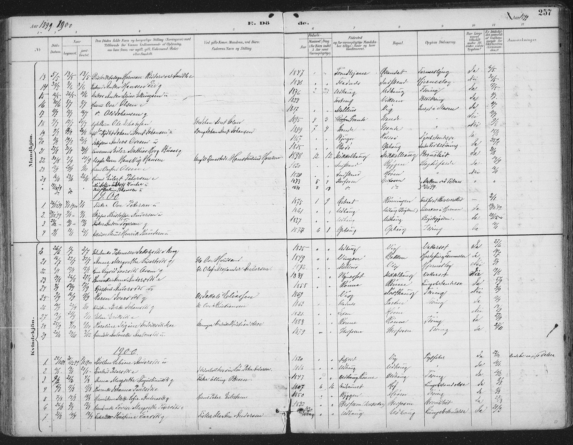 SAT, Ministerialprotokoller, klokkerbøker og fødselsregistre - Sør-Trøndelag, 659/L0743: Ministerialbok nr. 659A13, 1893-1910, s. 257