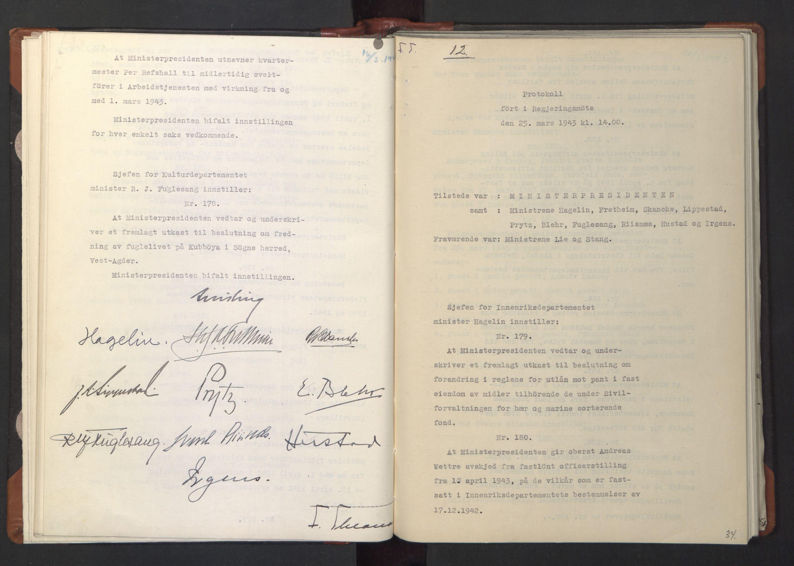 RA, NS-administrasjonen 1940-1945 (Statsrådsekretariatet, de kommisariske statsråder mm), D/Da/L0003: Vedtak (Beslutninger) nr. 1-746 og tillegg nr. 1-47 (RA. j.nr. 1394/1944, tilgangsnr. 8/1944, 1943, s. 33b-34a