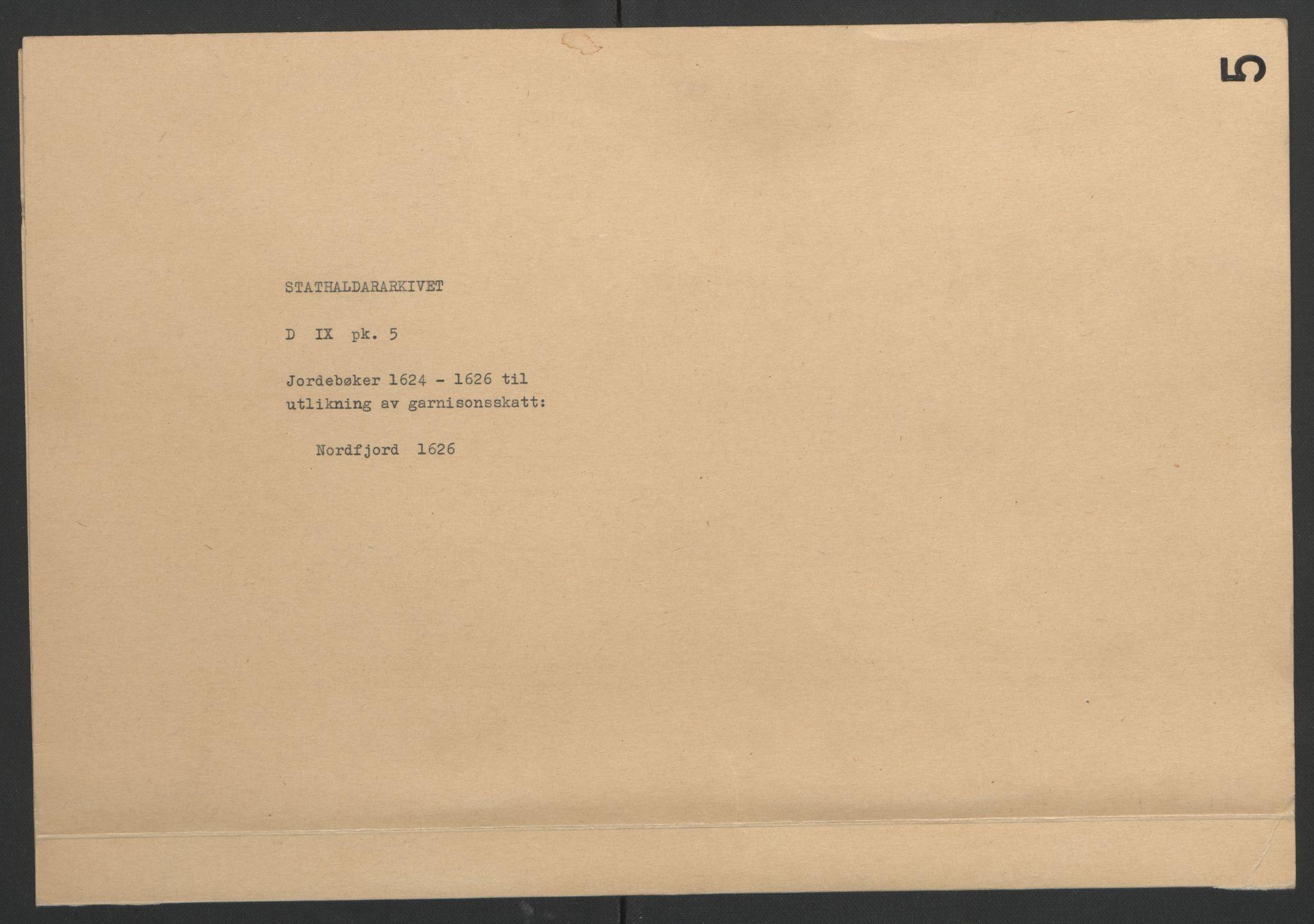 RA, Stattholderembetet 1572-1771, Ek/L0005: Jordebøker til utlikning av garnisonsskatt 1624-1626:, 1626, s. 31