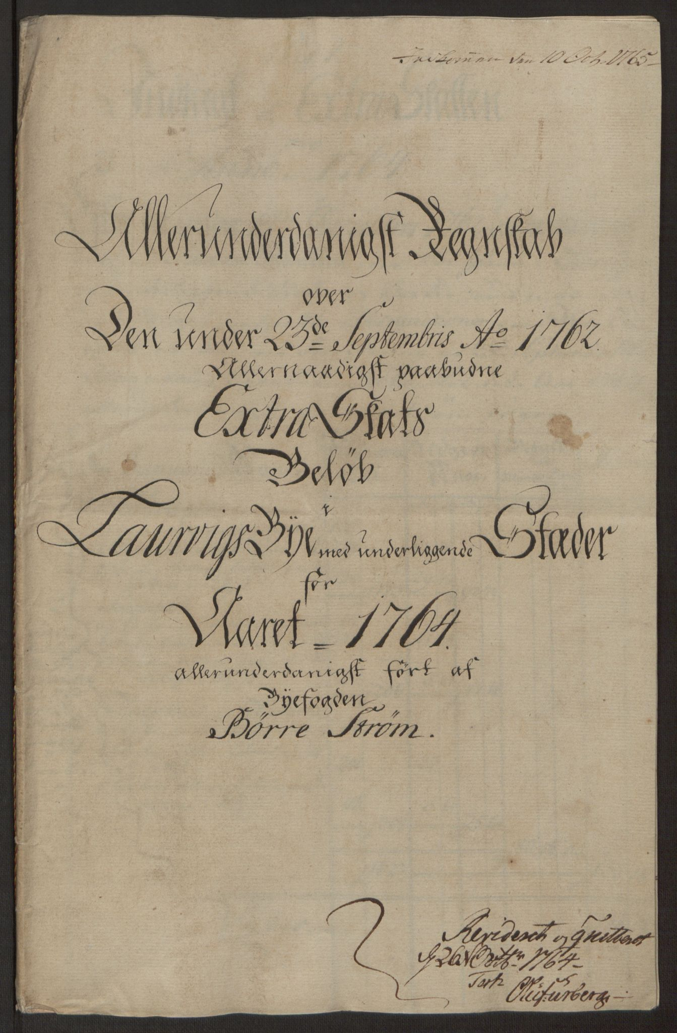 RA, Rentekammeret inntil 1814, Reviderte regnskaper, Byregnskaper, R/Ri/L0183: [I4] Kontribusjonsregnskap, 1762-1768, s. 166