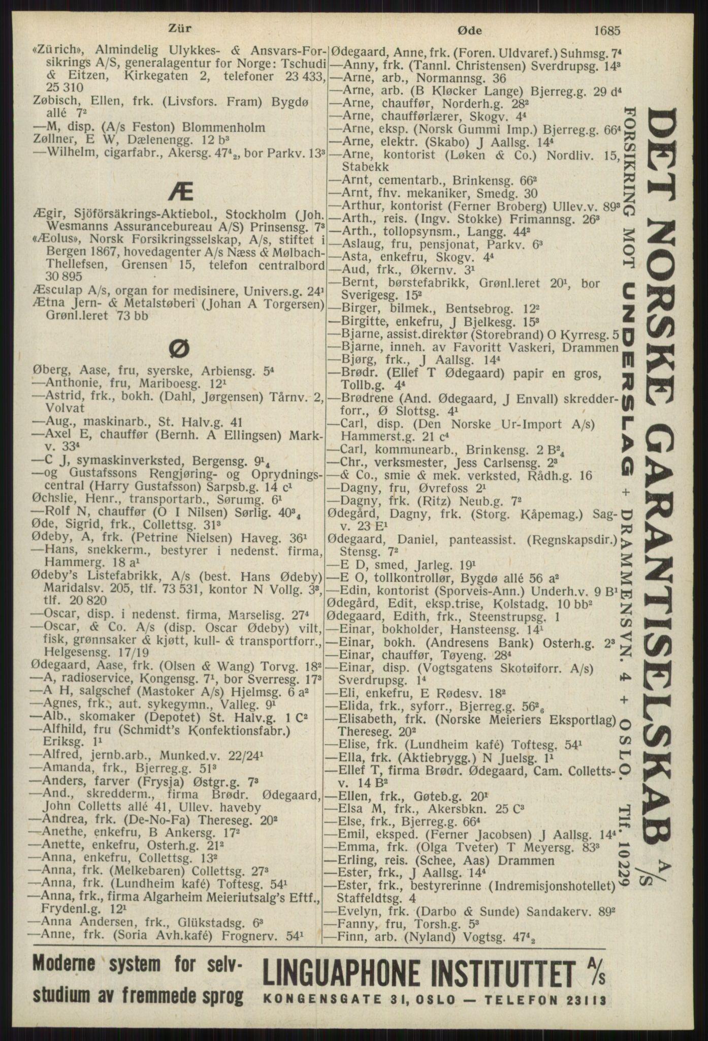 RA, Oslo adressebok (publikasjon)*, 1939, s. 1685