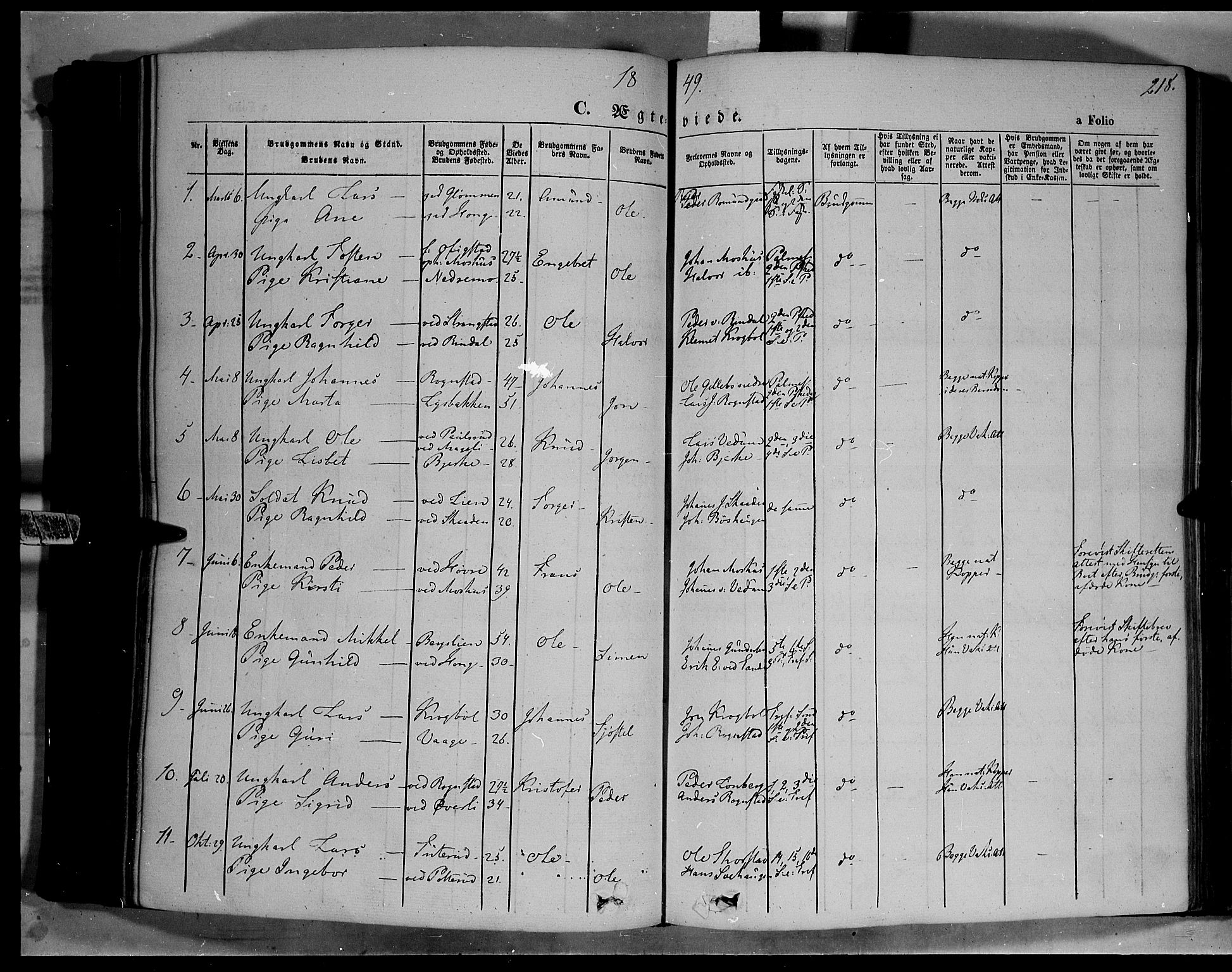 SAH, Øyer prestekontor, Ministerialbok nr. 5, 1842-1857, s. 218