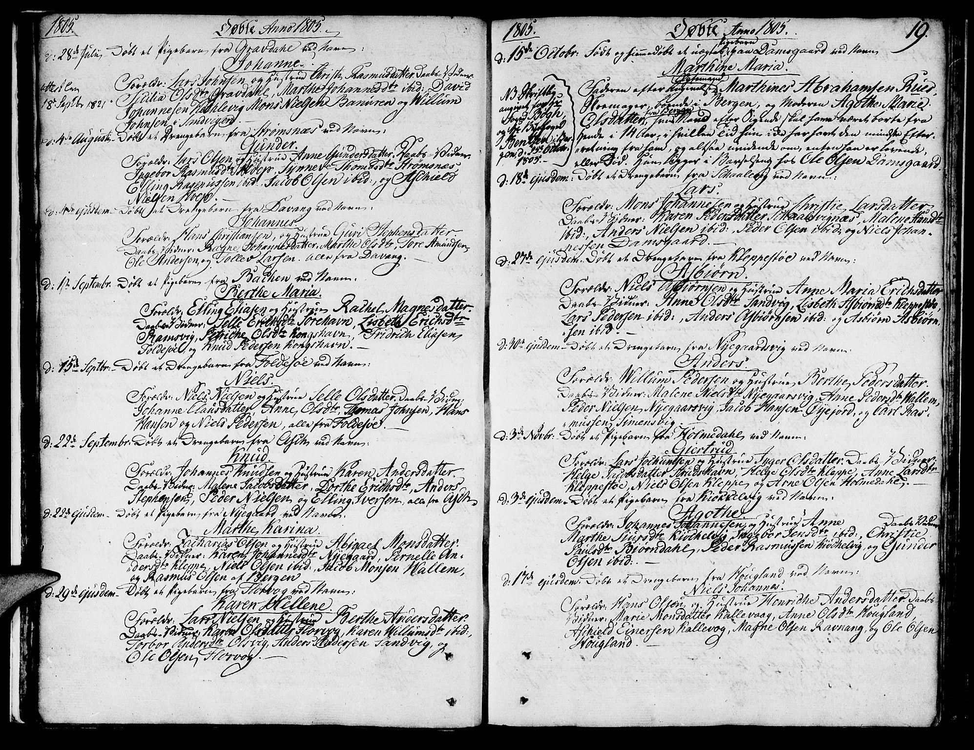 SAB, Askøy Sokneprestembete, H/Ha/Haa/Haaa/L0002: Ministerialbok nr. A 2, 1801-1818, s. 19