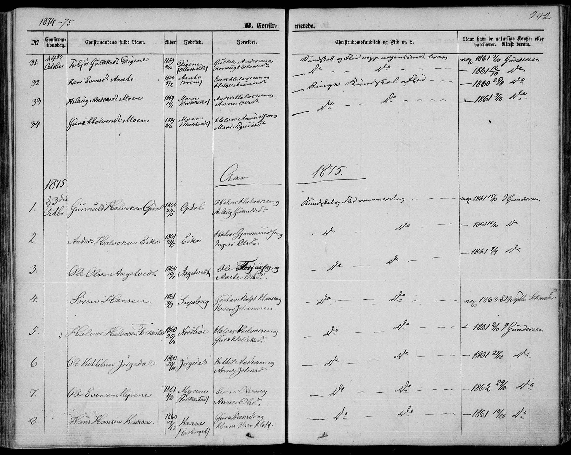 SAKO, Bø kirkebøker, F/Fa/L0009: Ministerialbok nr. 9, 1862-1879, s. 242