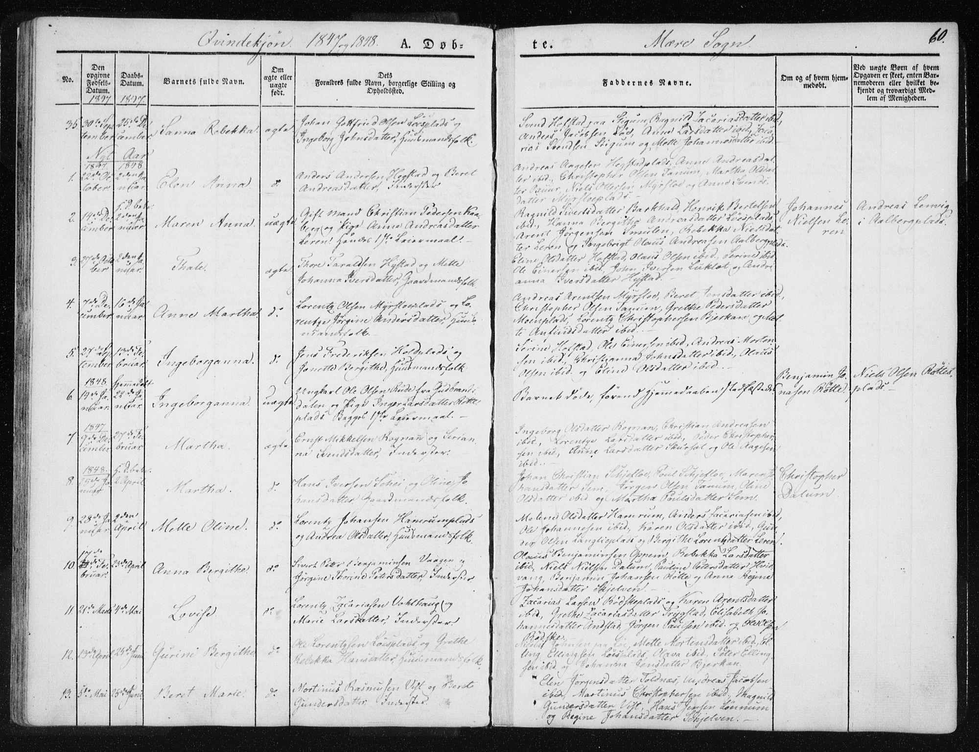 SAT, Ministerialprotokoller, klokkerbøker og fødselsregistre - Nord-Trøndelag, 735/L0339: Ministerialbok nr. 735A06 /1, 1836-1848, s. 60