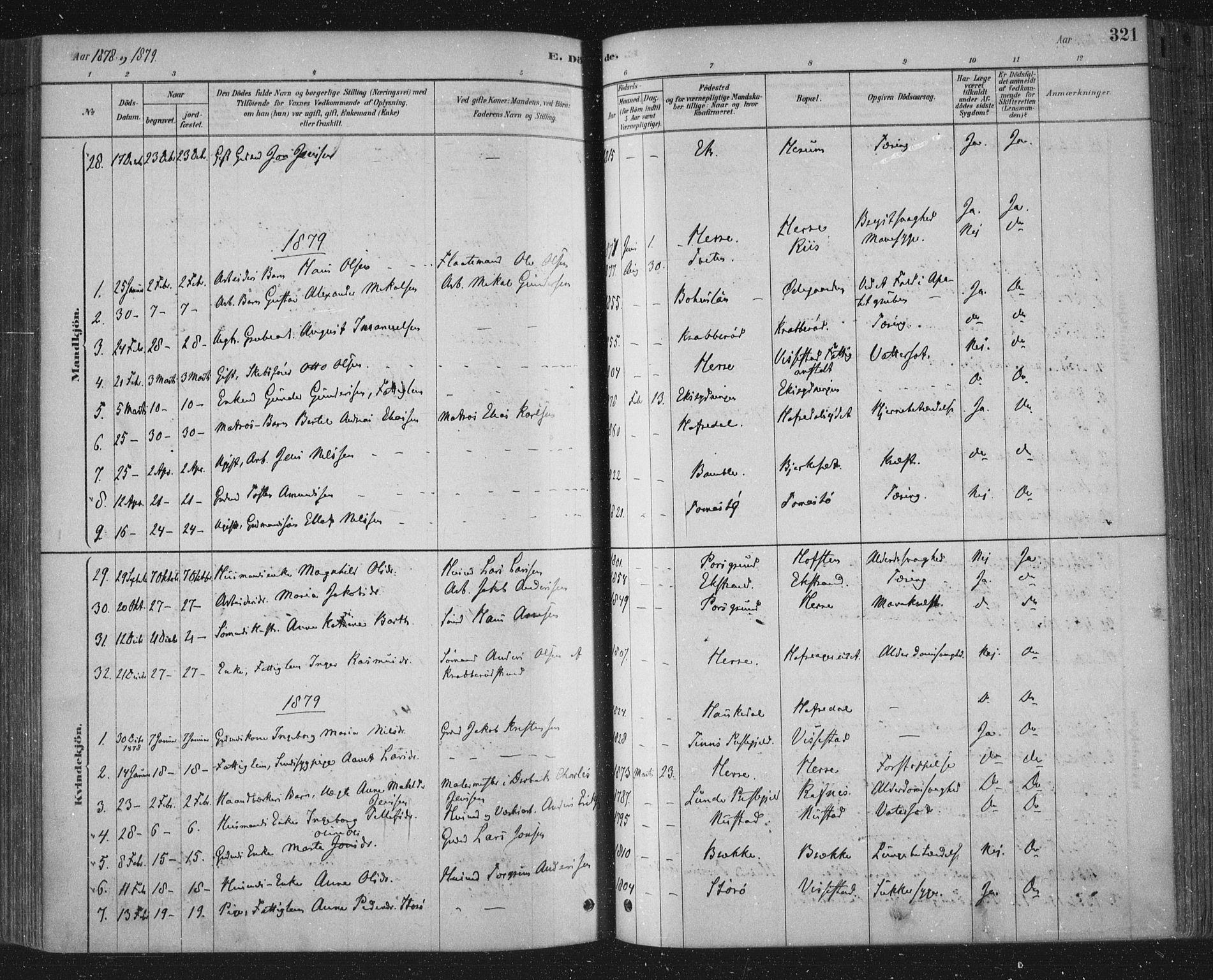 SAKO, Bamble kirkebøker, F/Fa/L0007: Ministerialbok nr. I 7, 1878-1888, s. 321