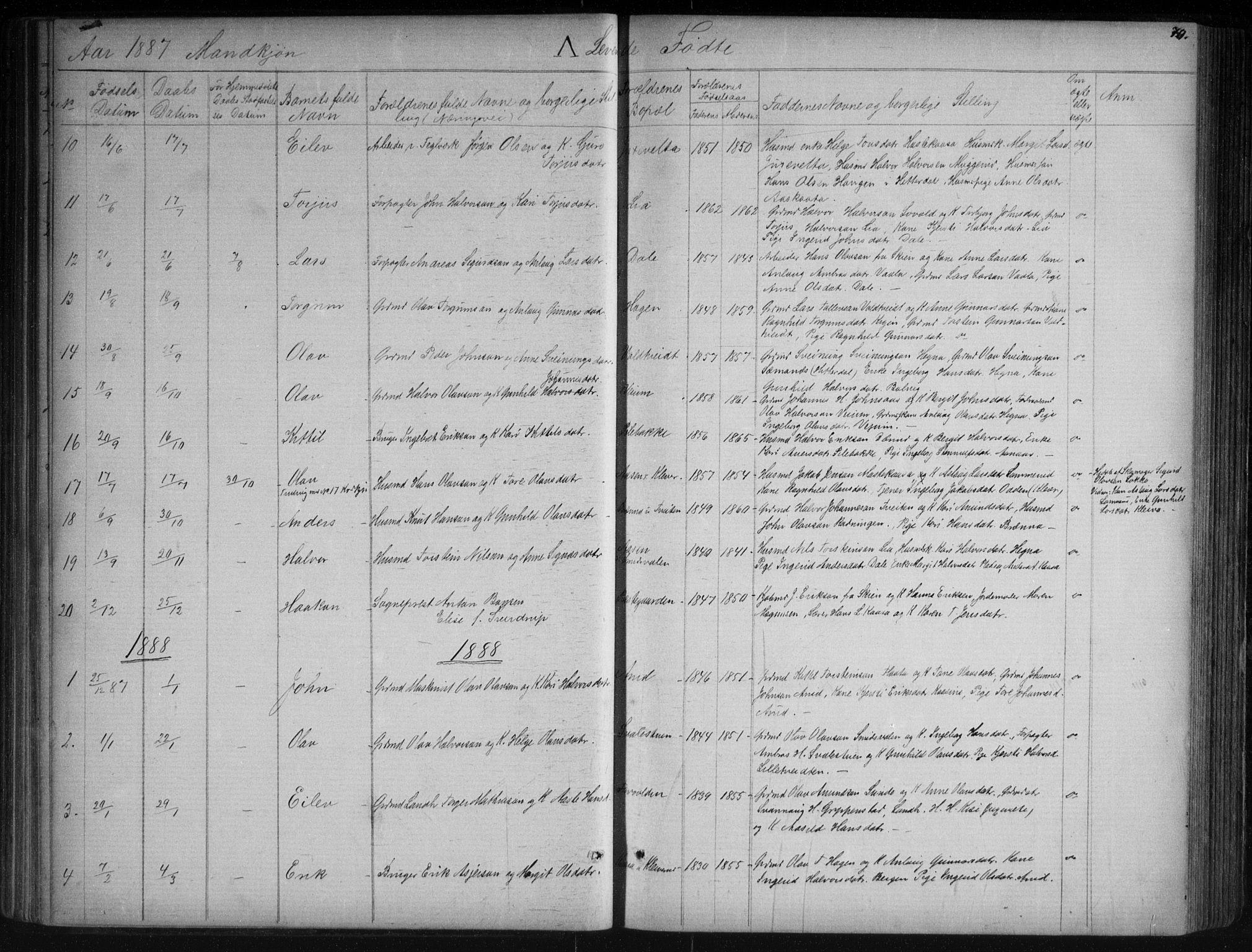 SAKO, Sauherad kirkebøker, G/Ga/L0003: Klokkerbok nr. I 3, 1866-1905, s. 70