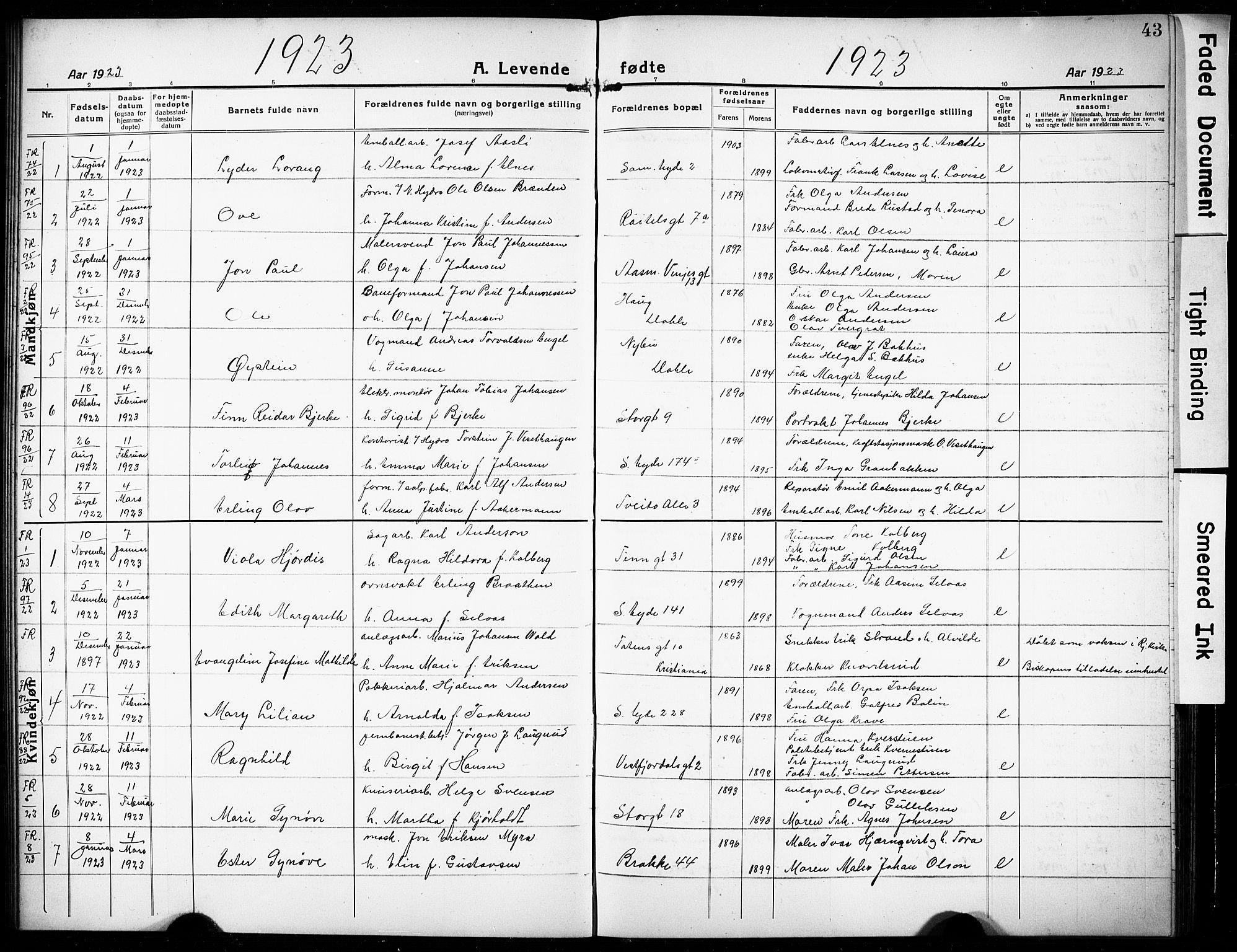 SAKO, Rjukan kirkebøker, G/Ga/L0003: Klokkerbok nr. 3, 1920-1928, s. 43