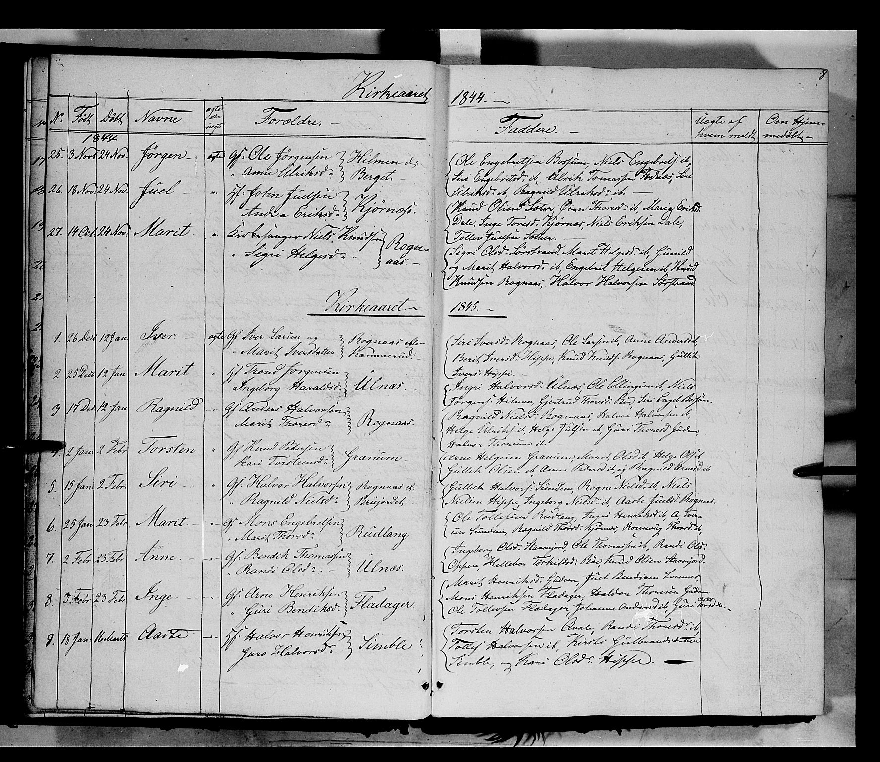 SAH, Nord-Aurdal prestekontor, Ministerialbok nr. 6, 1842-1863, s. 8