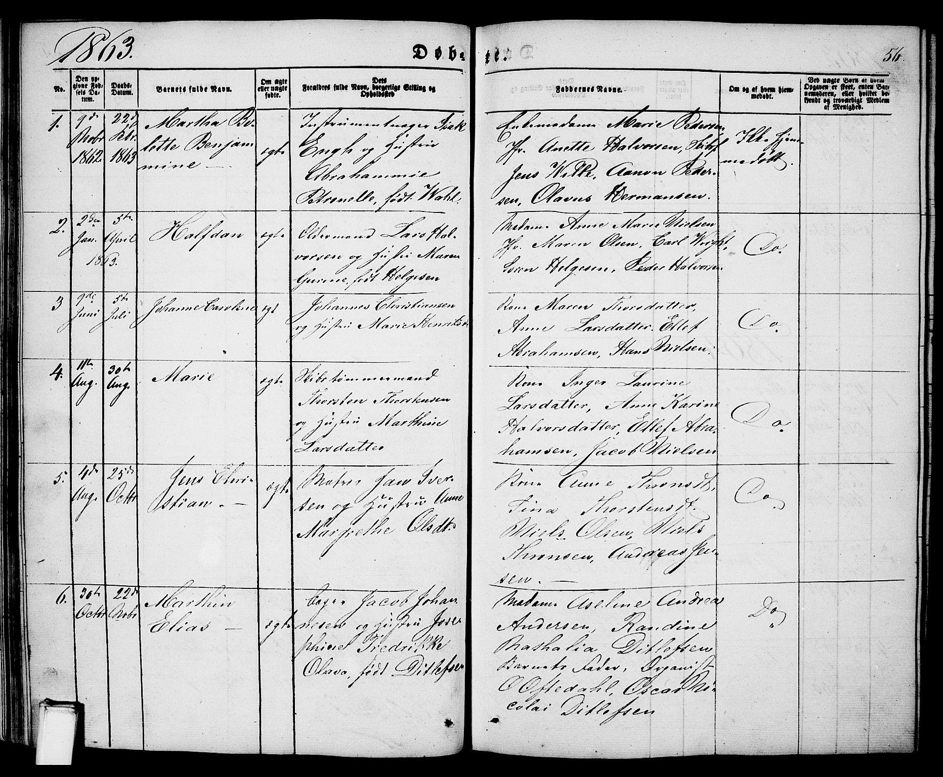 SAKO, Porsgrunn kirkebøker , G/Ga/L0002: Klokkerbok nr. I 2, 1847-1877, s. 56